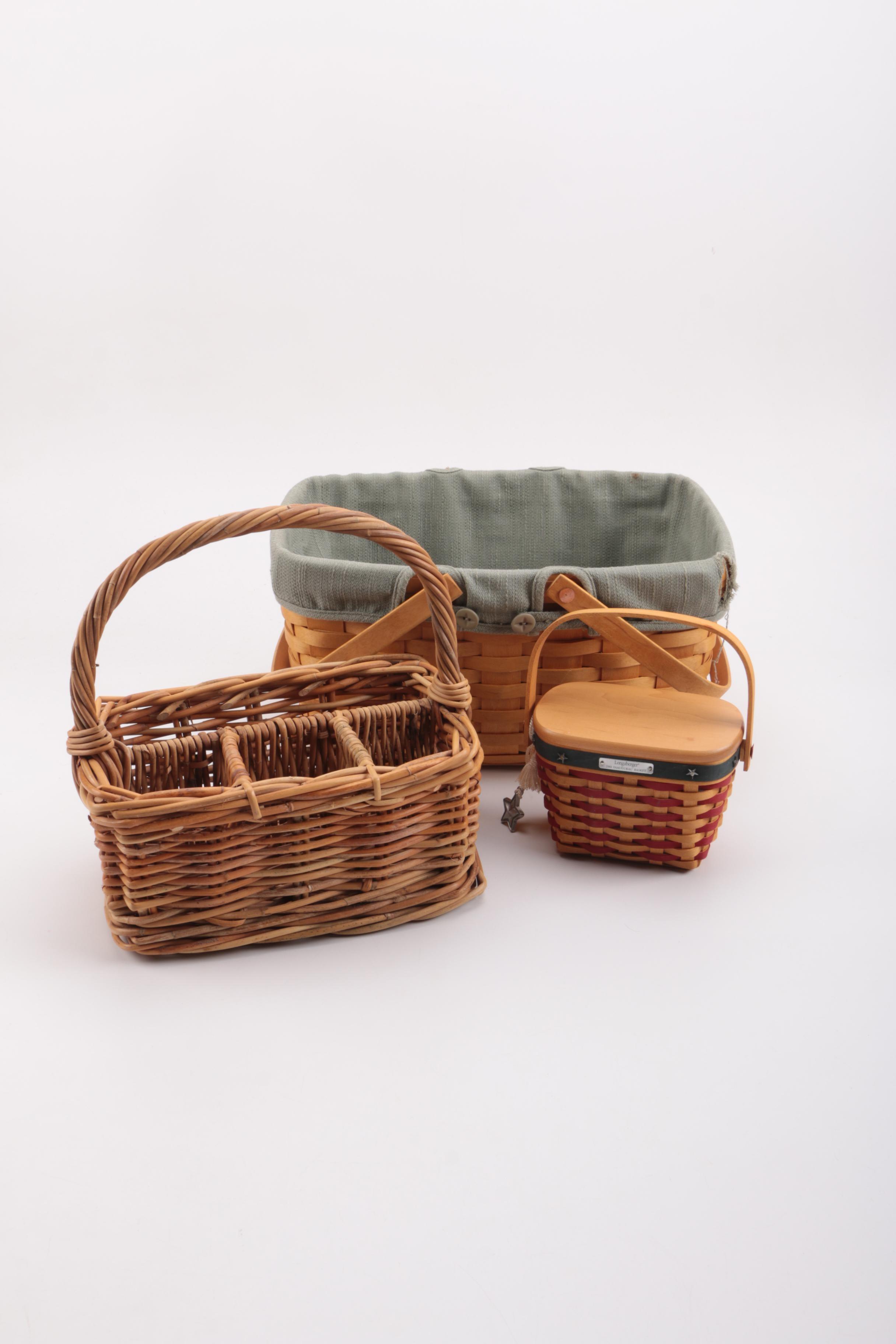 Assorted Wicker Baskets Including Longaberger