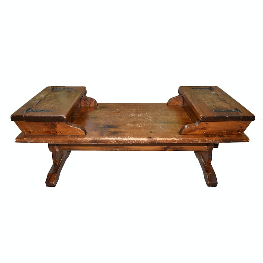 Vintage Wood Coffee Table With Storage Ebth