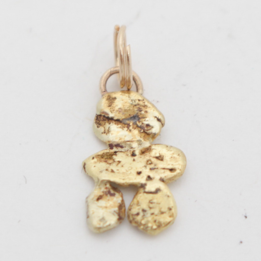 21K Yellow Gold Nugget Pendant