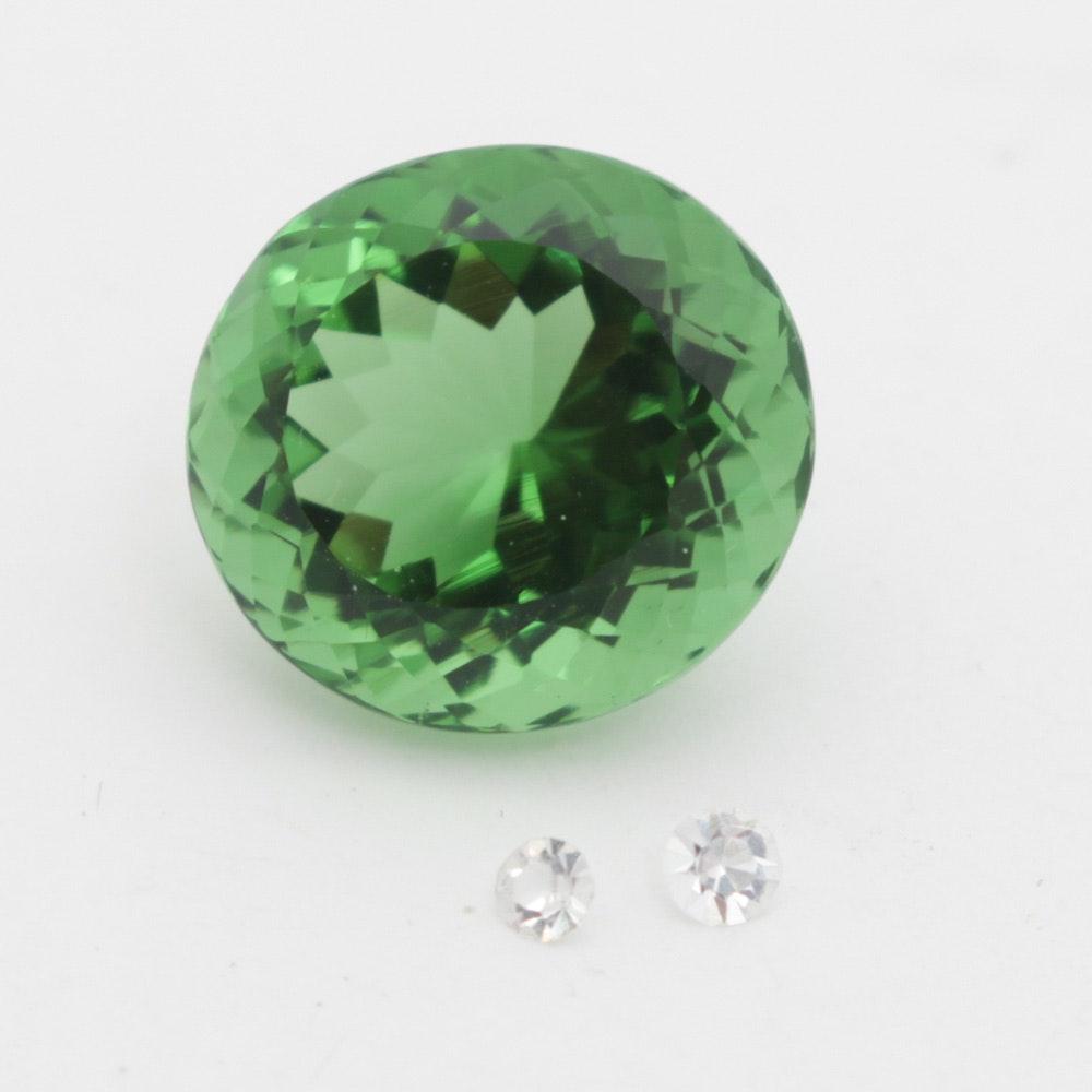 Imitation Moldovite and Cubic Zirconia Loose Gemstones
