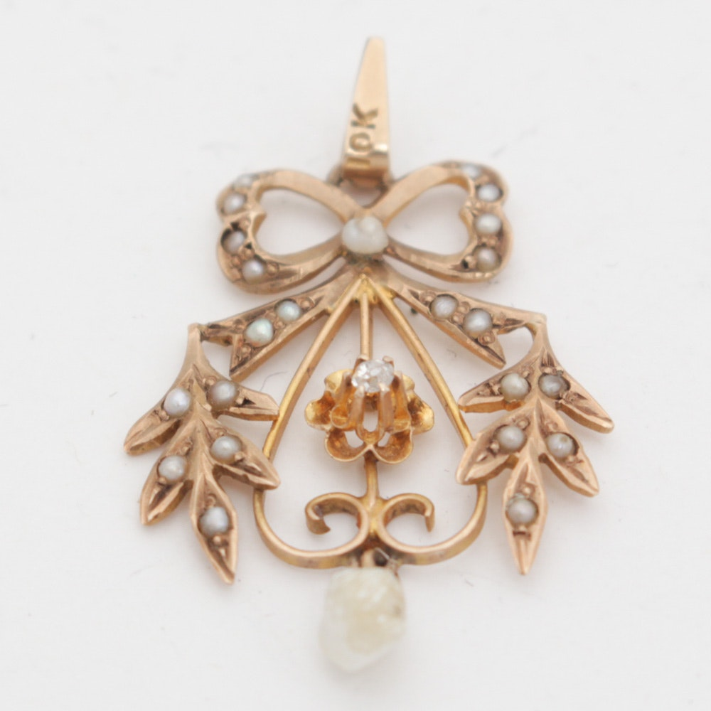 Victorian 10K Yellow Gold, Diamond, and Seed Pearl Pendant