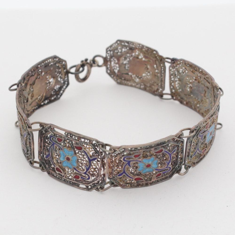 Vintage Panama Sterling Silver and Enamel Filigree Bracelet