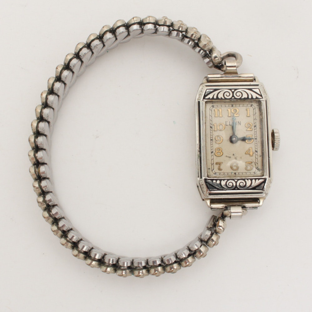 Vintage 14K White Gold Elgin Wristwatch
