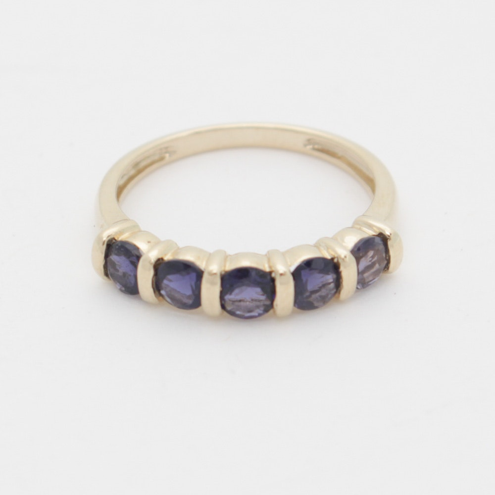 14K Yellow Gold and Iolite Ring