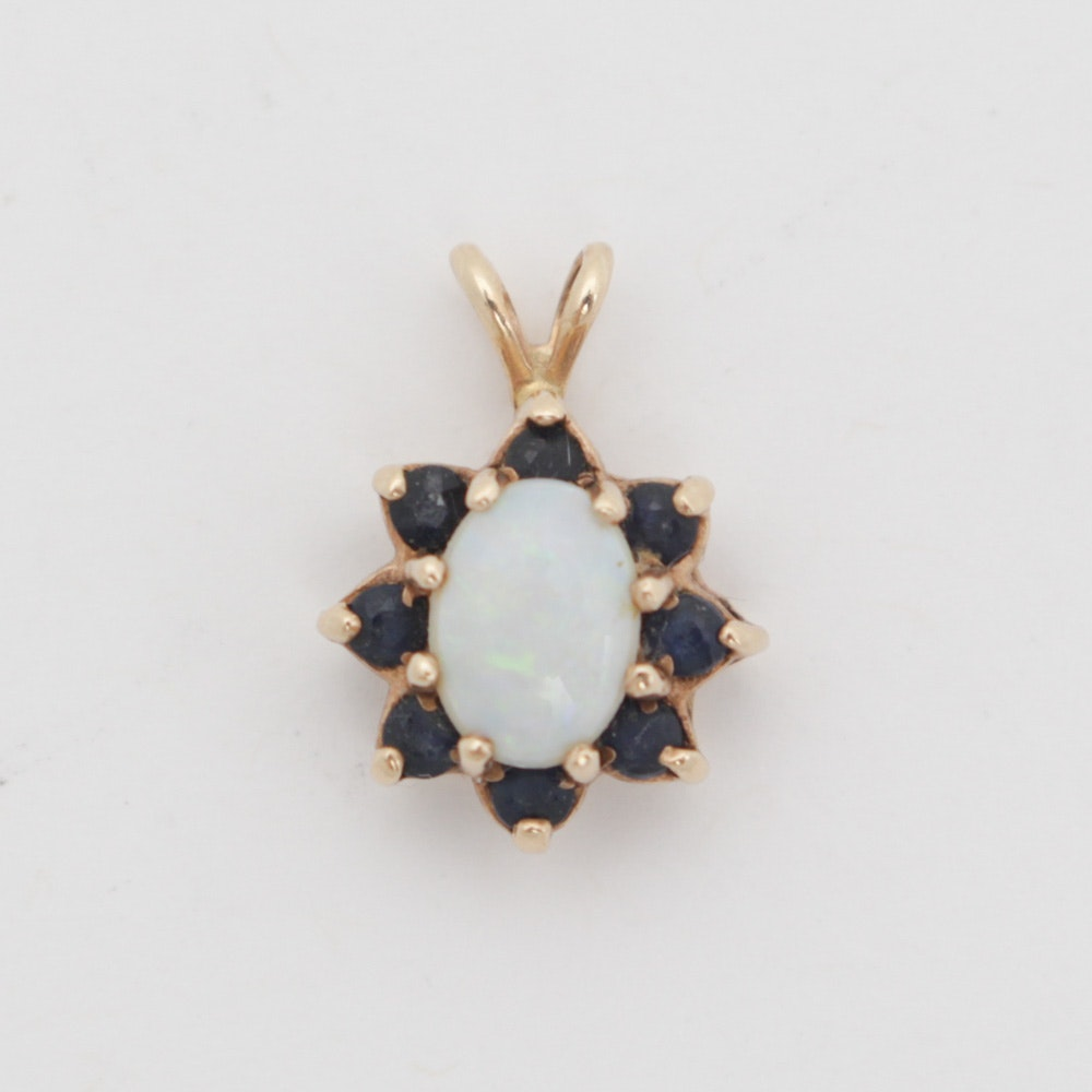 14K Yellow Gold Sapphire and Opal Pendant