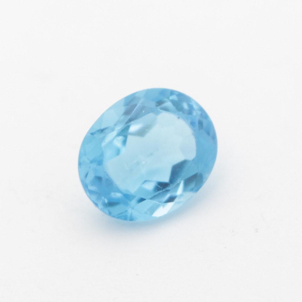 Loose 6.31 CTS Oval Blue Topaz Gemstone