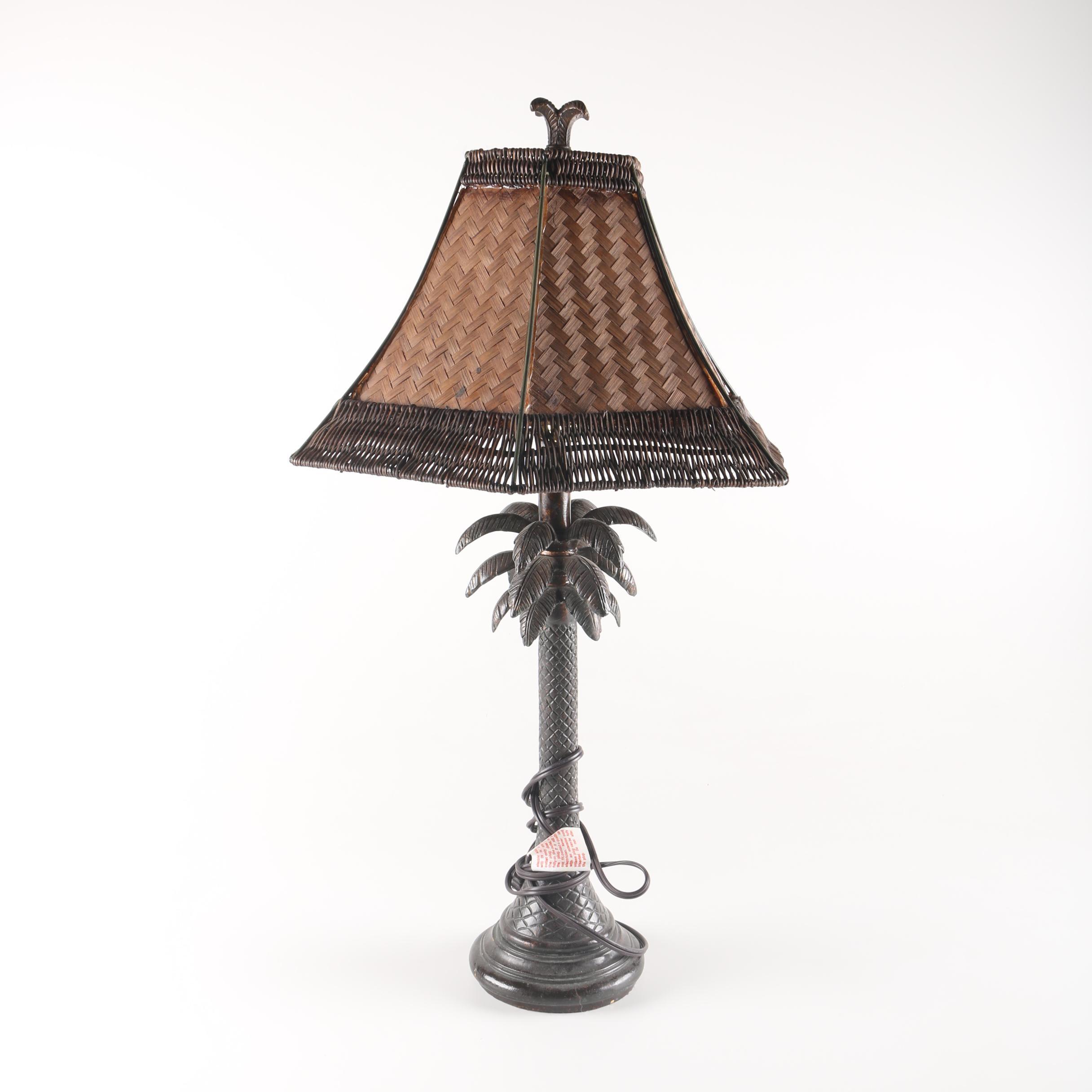 Rattan Palm Tree Table Lamp