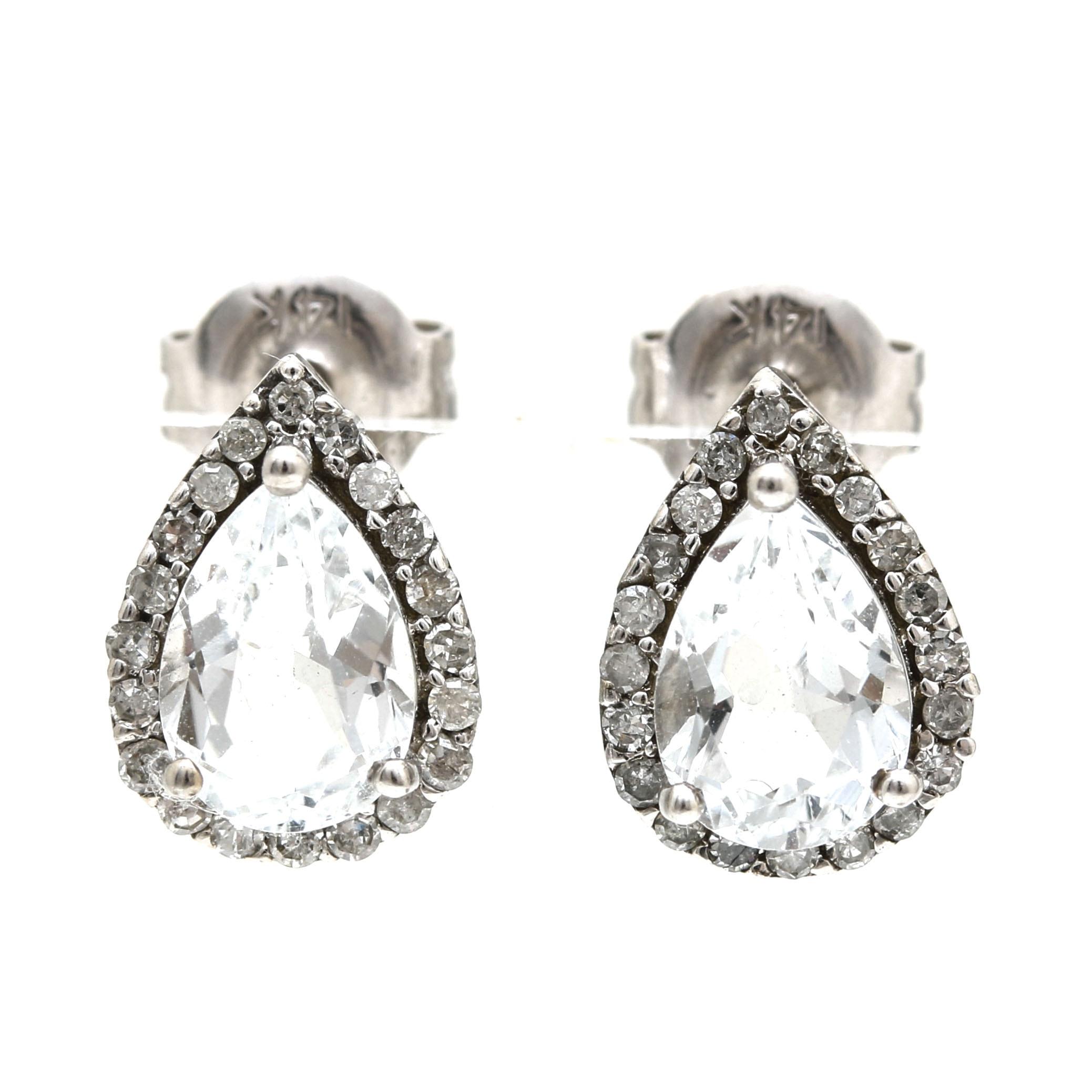 14K White Gold Sapphire and Diamond Tear Drop Earrings