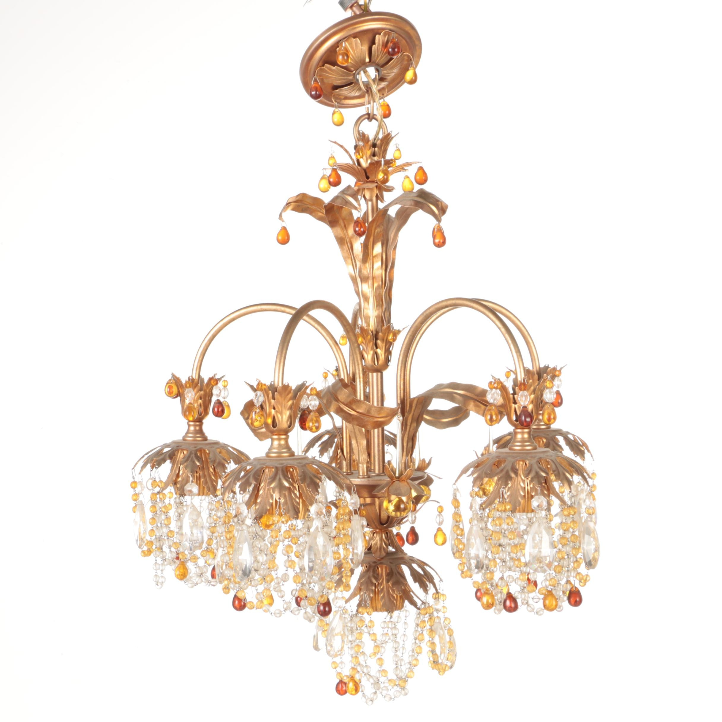 Gold Toned Jeweled Chandelier