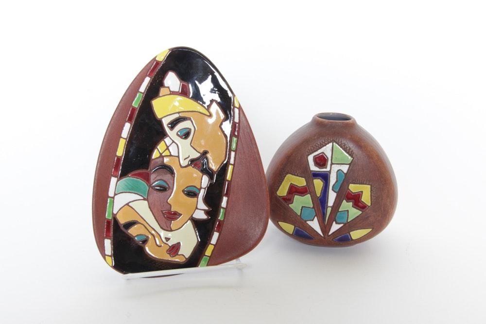 Keramos Handpainted Israeli Pottery Including a Vase