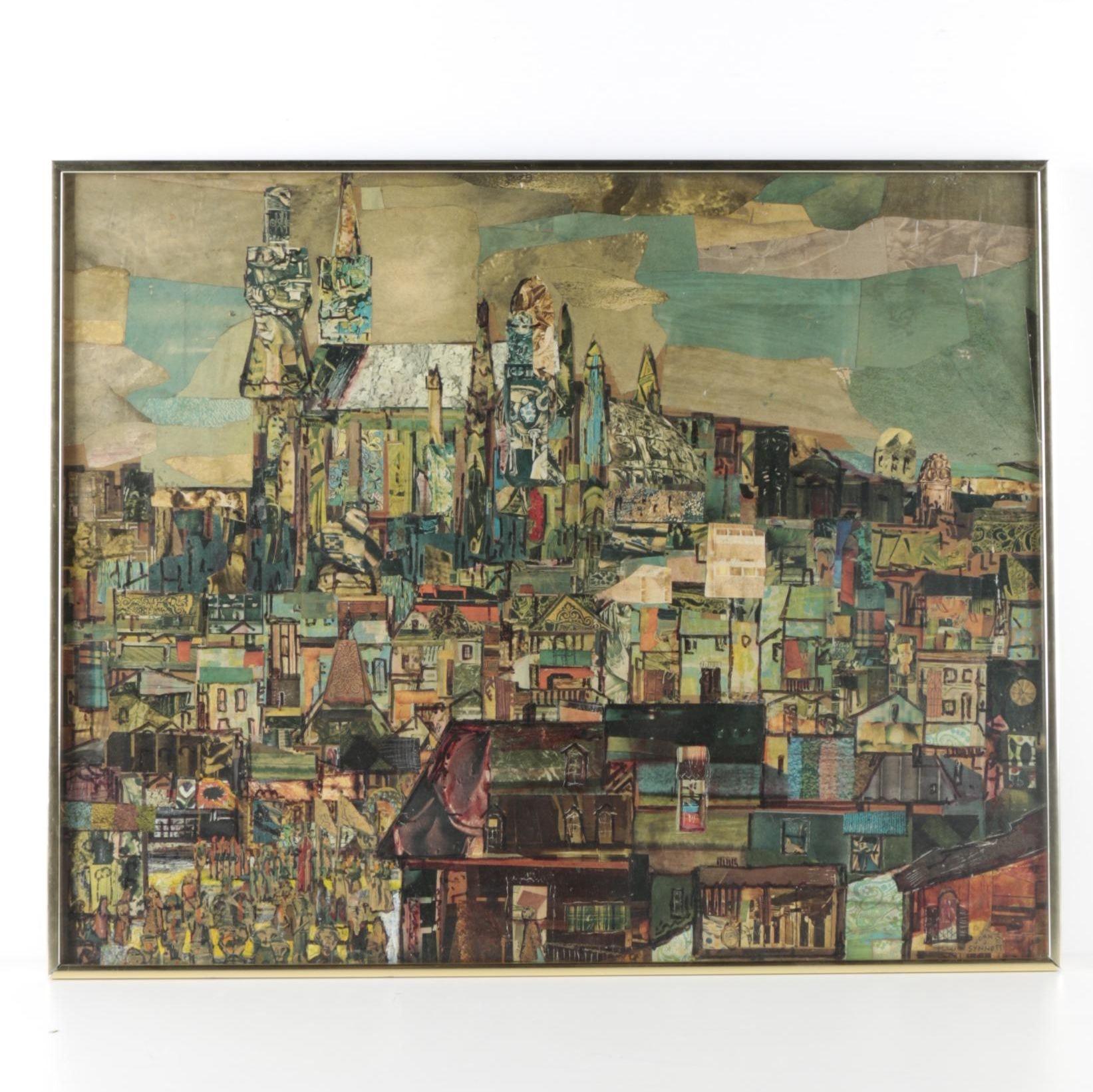 "John J. Synnott  Paper Collage ""Ancient City"""