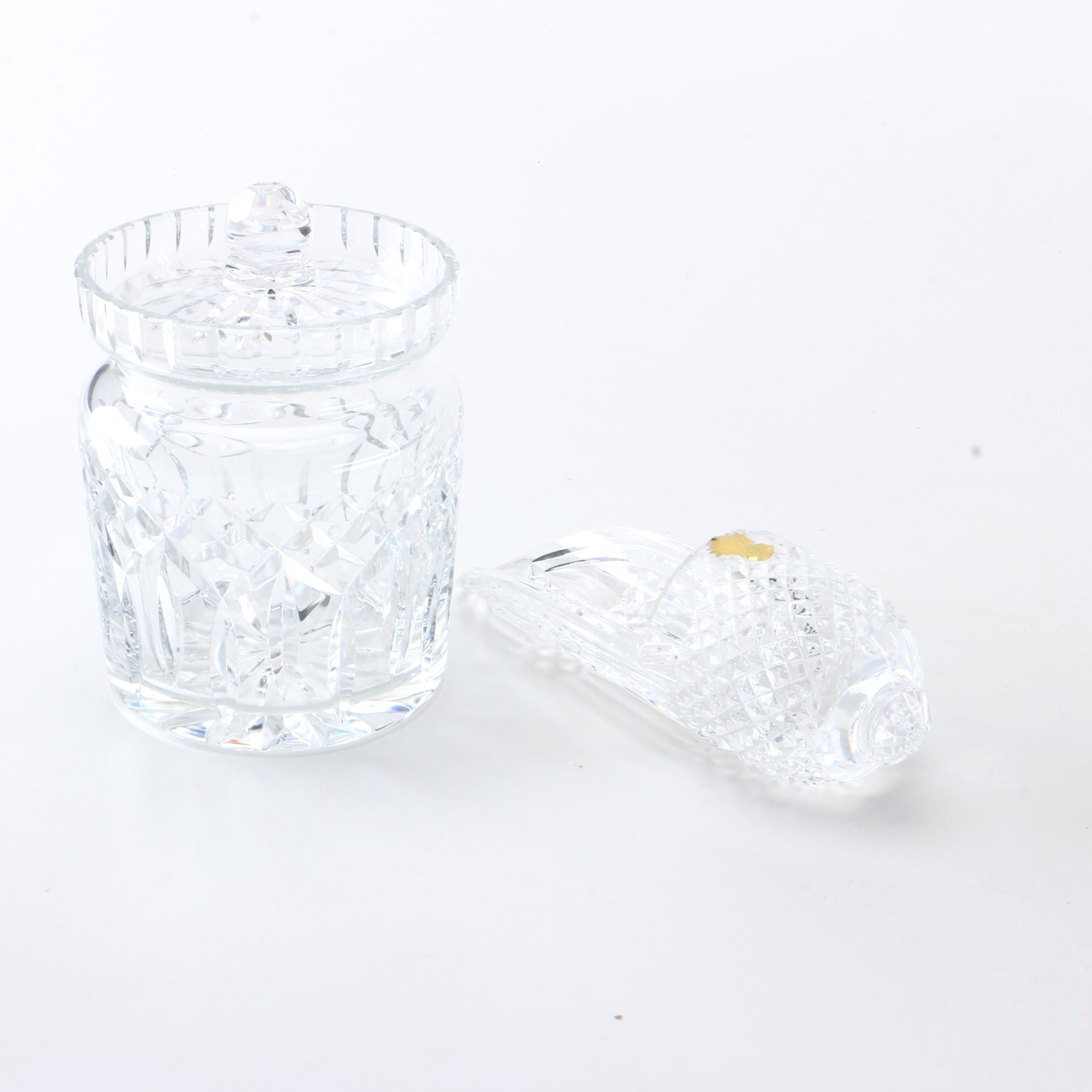 "Waterford ""Giftware"" Crystal Biscuit Jar and Holy Water Font"