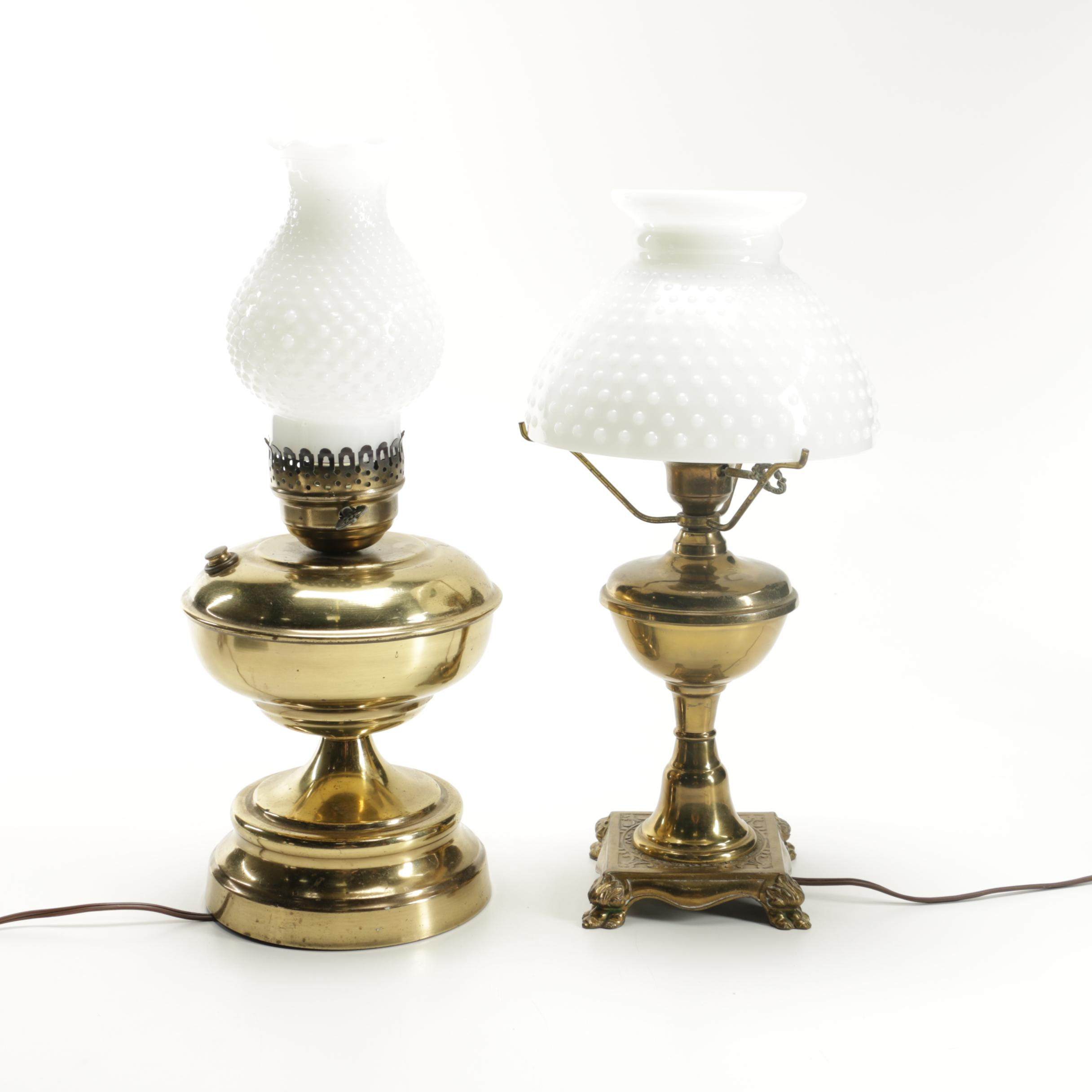 Vintage Brass Table Lamps With Milk Glass Shades