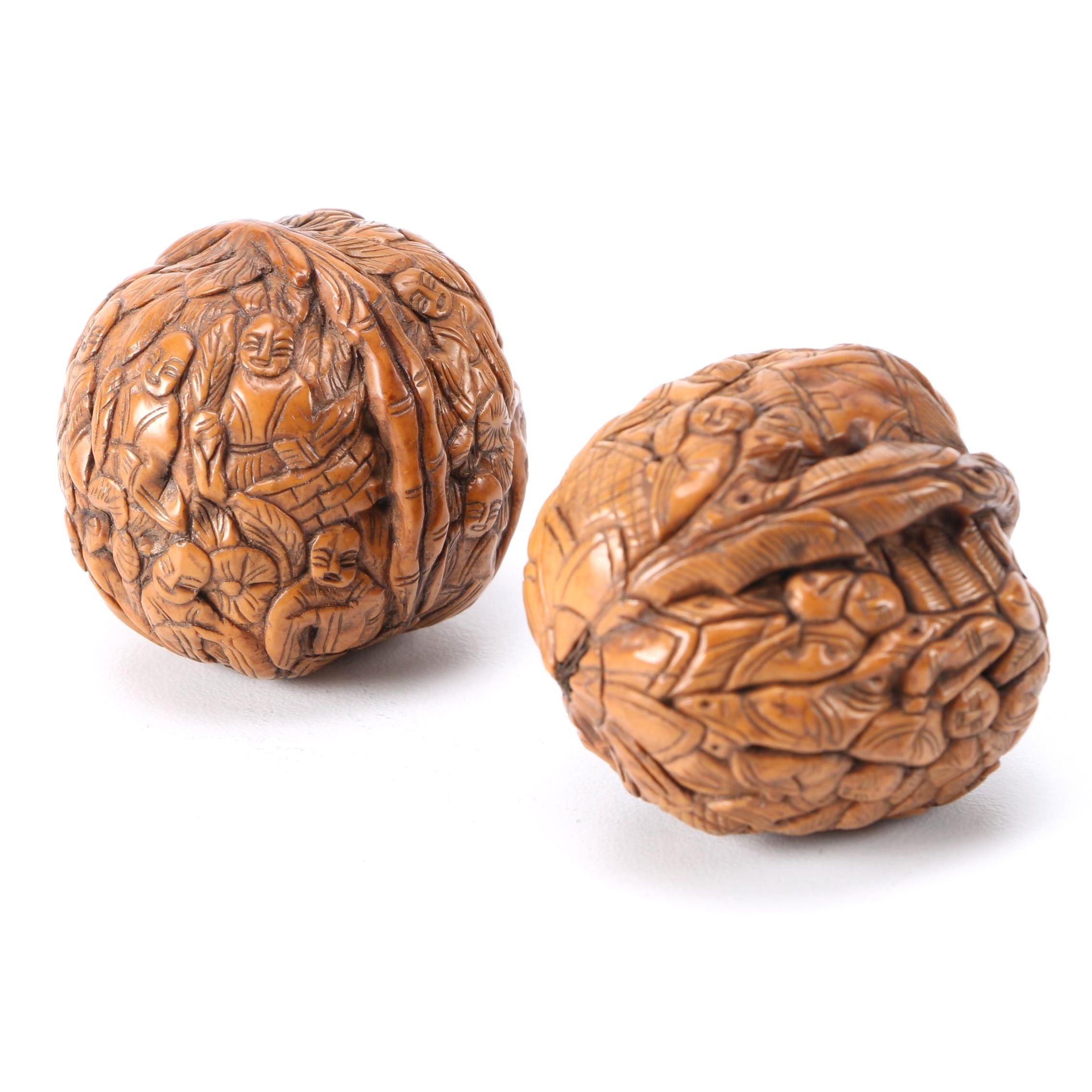 Asian Inspired Hand-Carved Walnut Shells