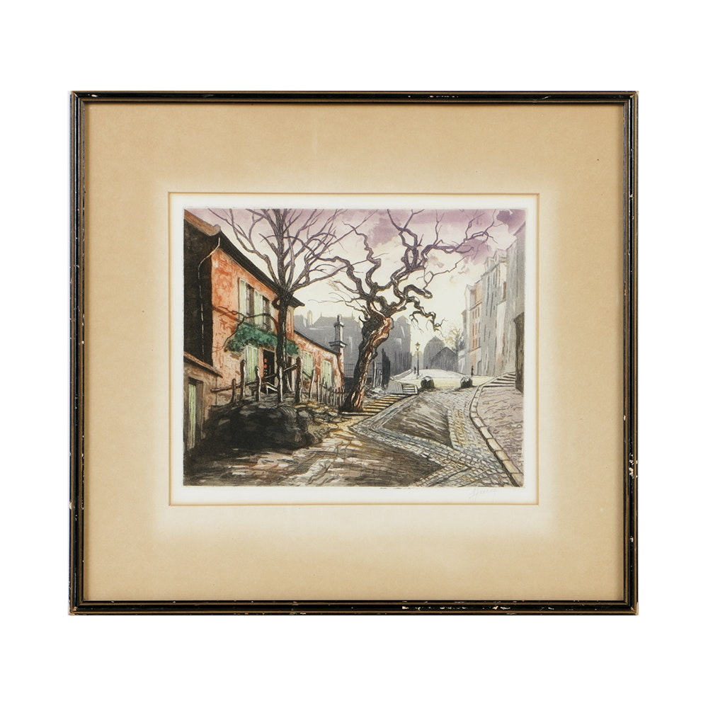 M. Haranz Color Etching on Paper of a Street Scene