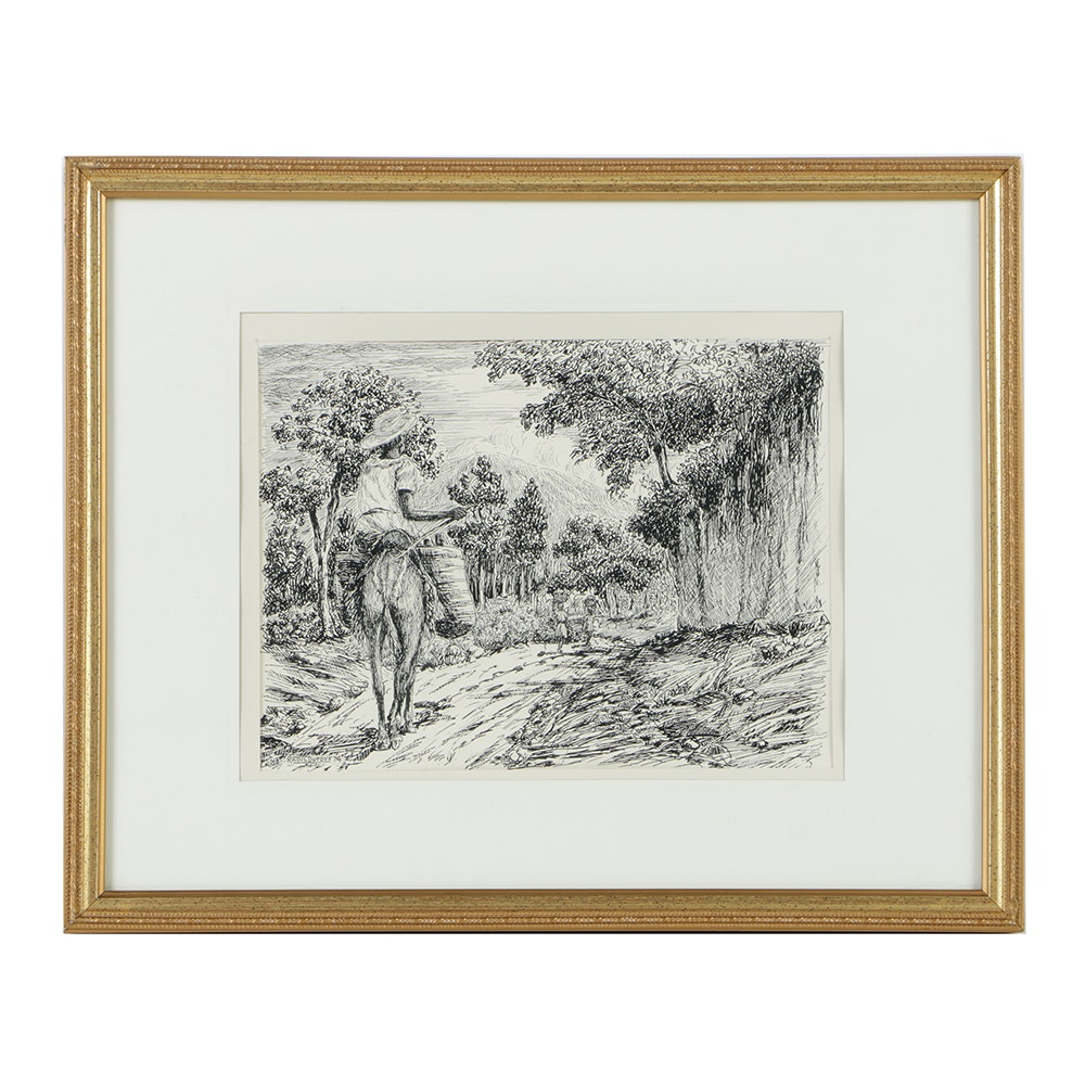 Raoul Dupoux Ink Drawing on Paper Haitian Landscape