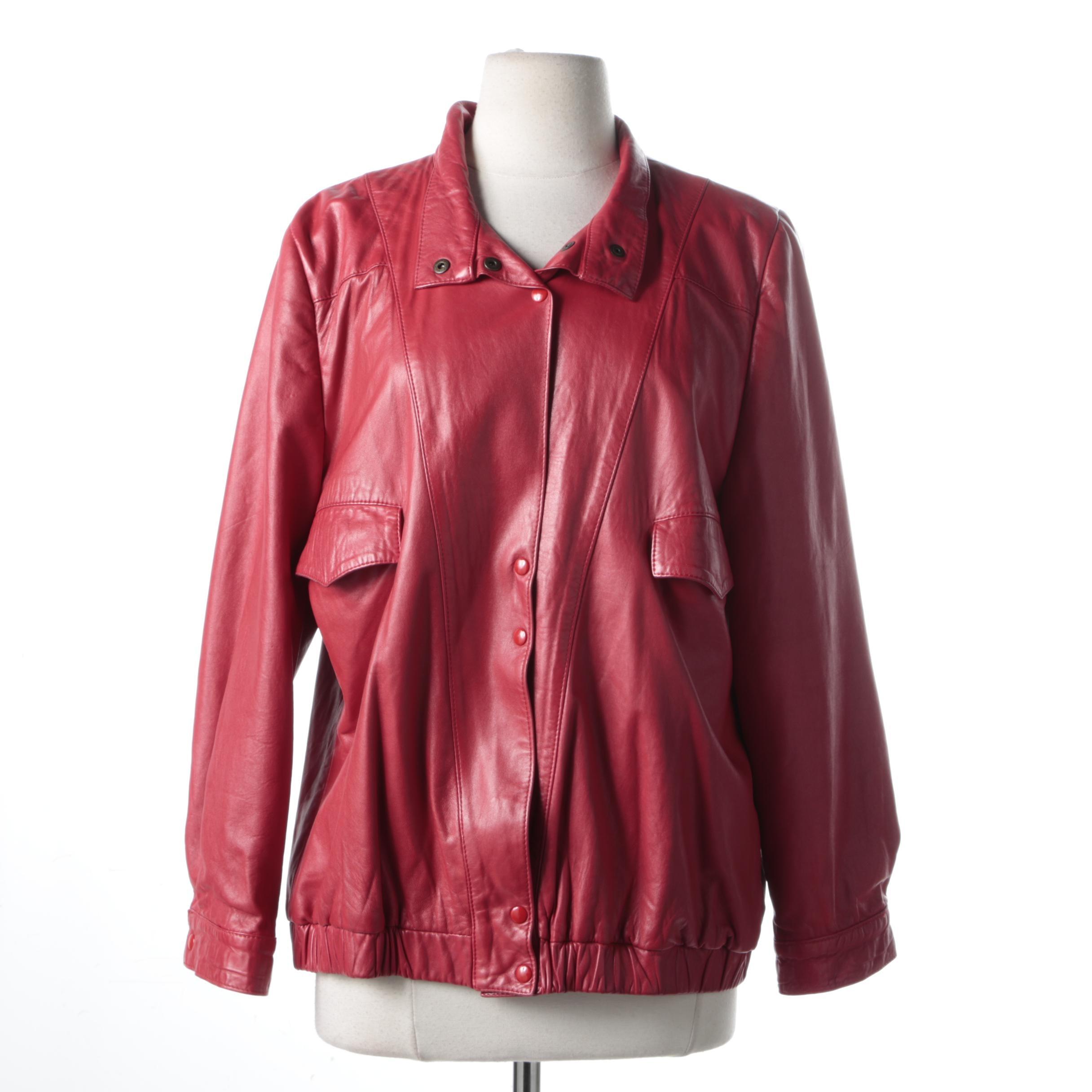 Stefano Serapian Red Leather Coat