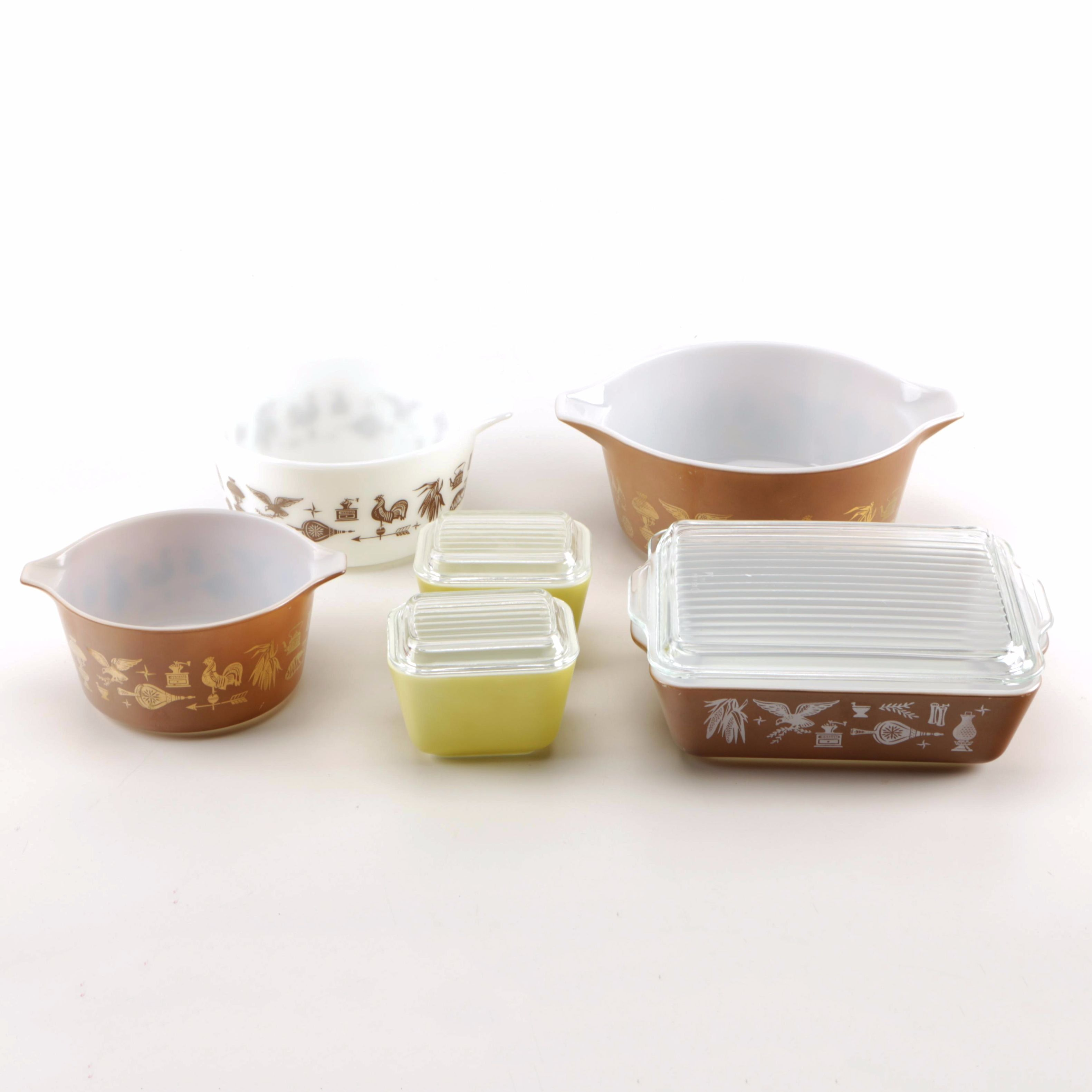 """Pyrex Kitchen Bowls and Dishes Featuring """"Early American"""""""