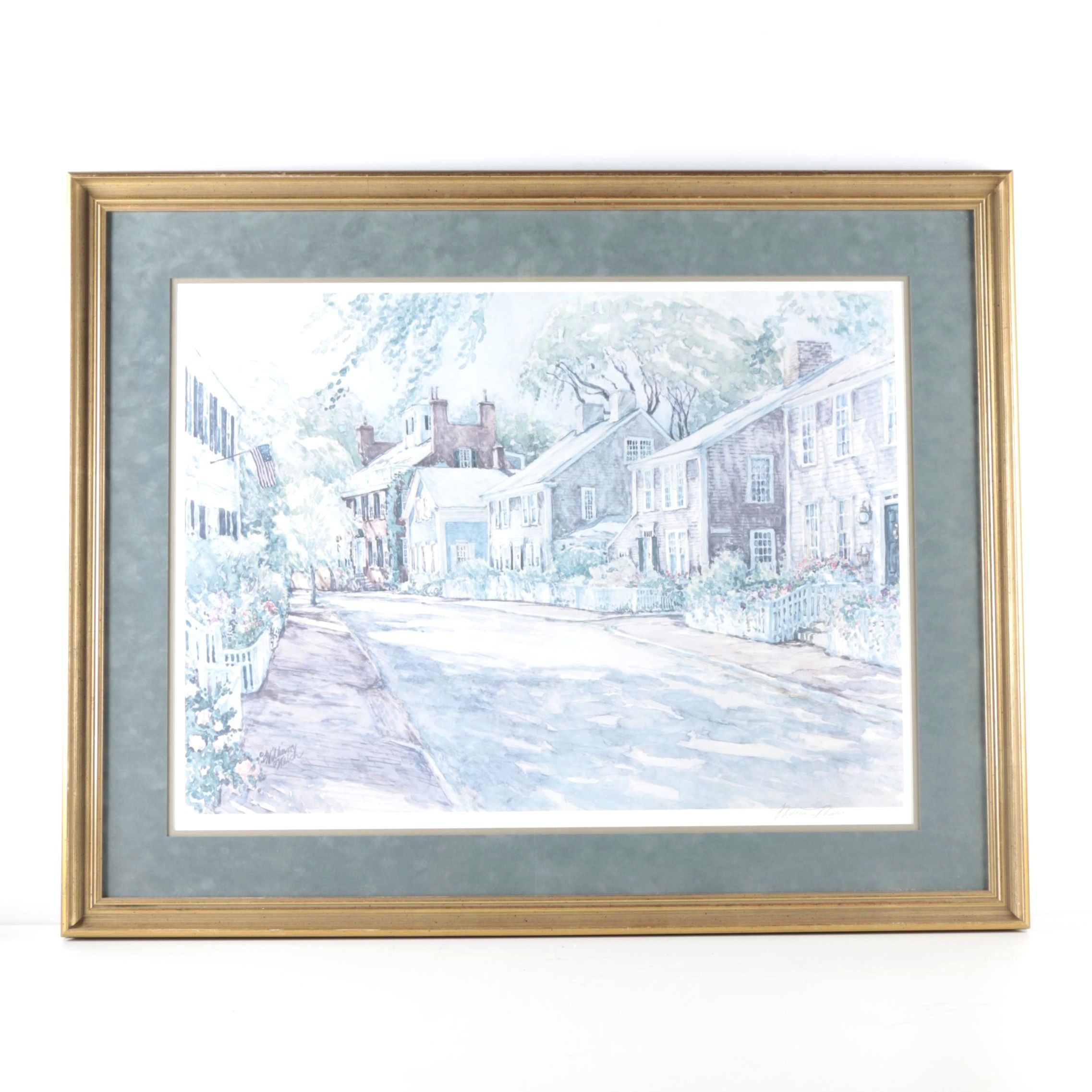 """William Welch Limited Edition Offset Lithograph """"Pleasant Street"""""""