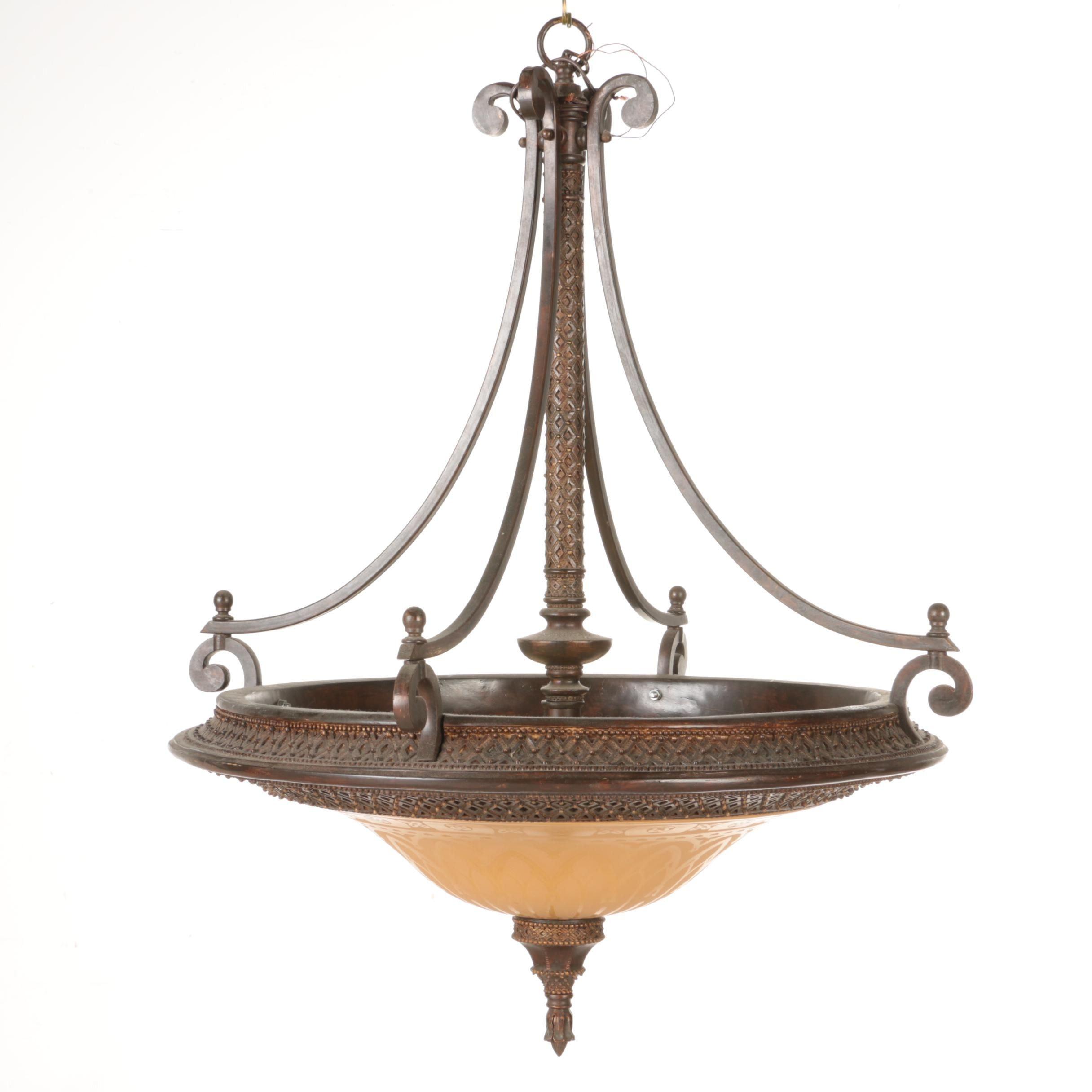 Large Bronze Toned Chandelier