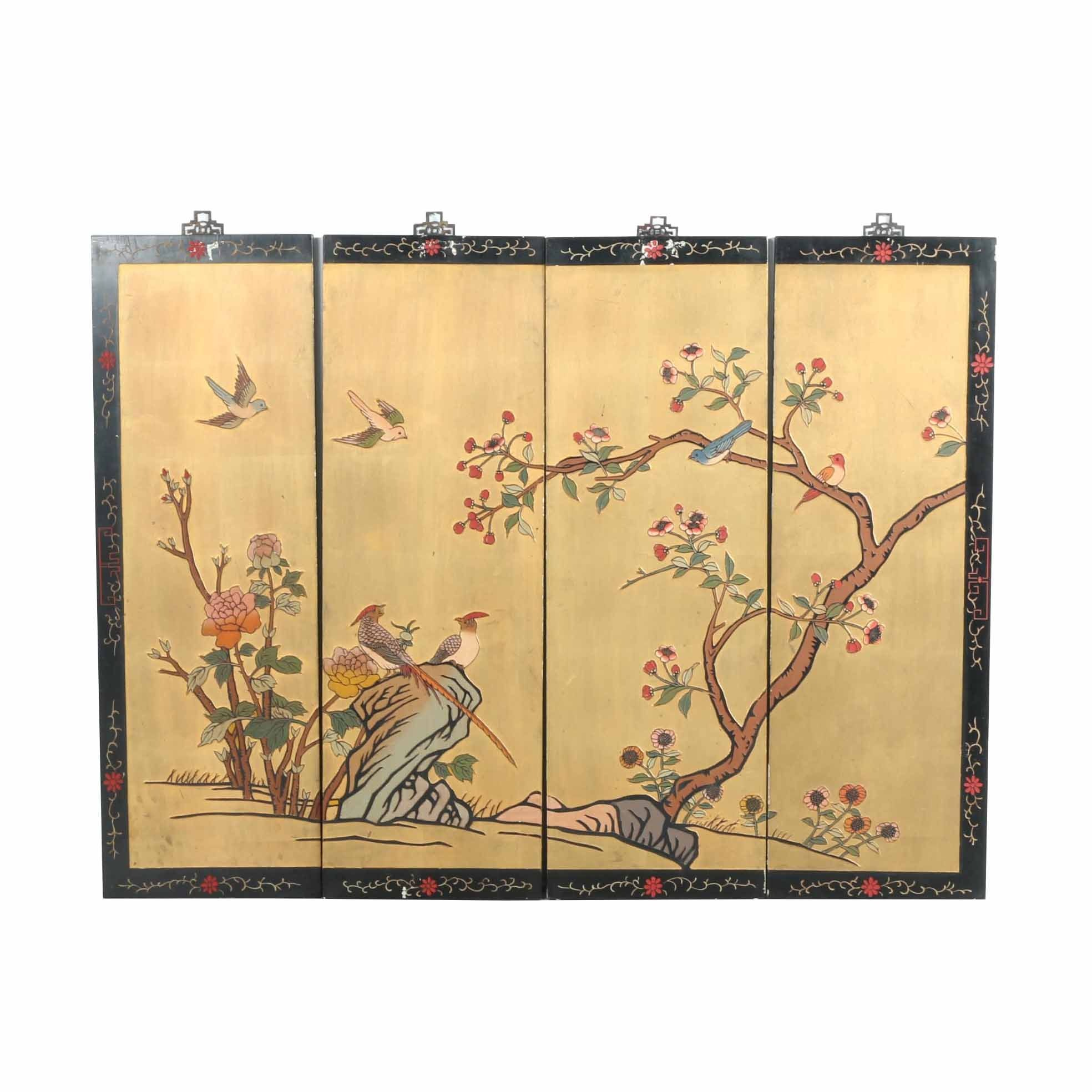 Chinese Painted Wood Hanging Screen With Birds and Flowers