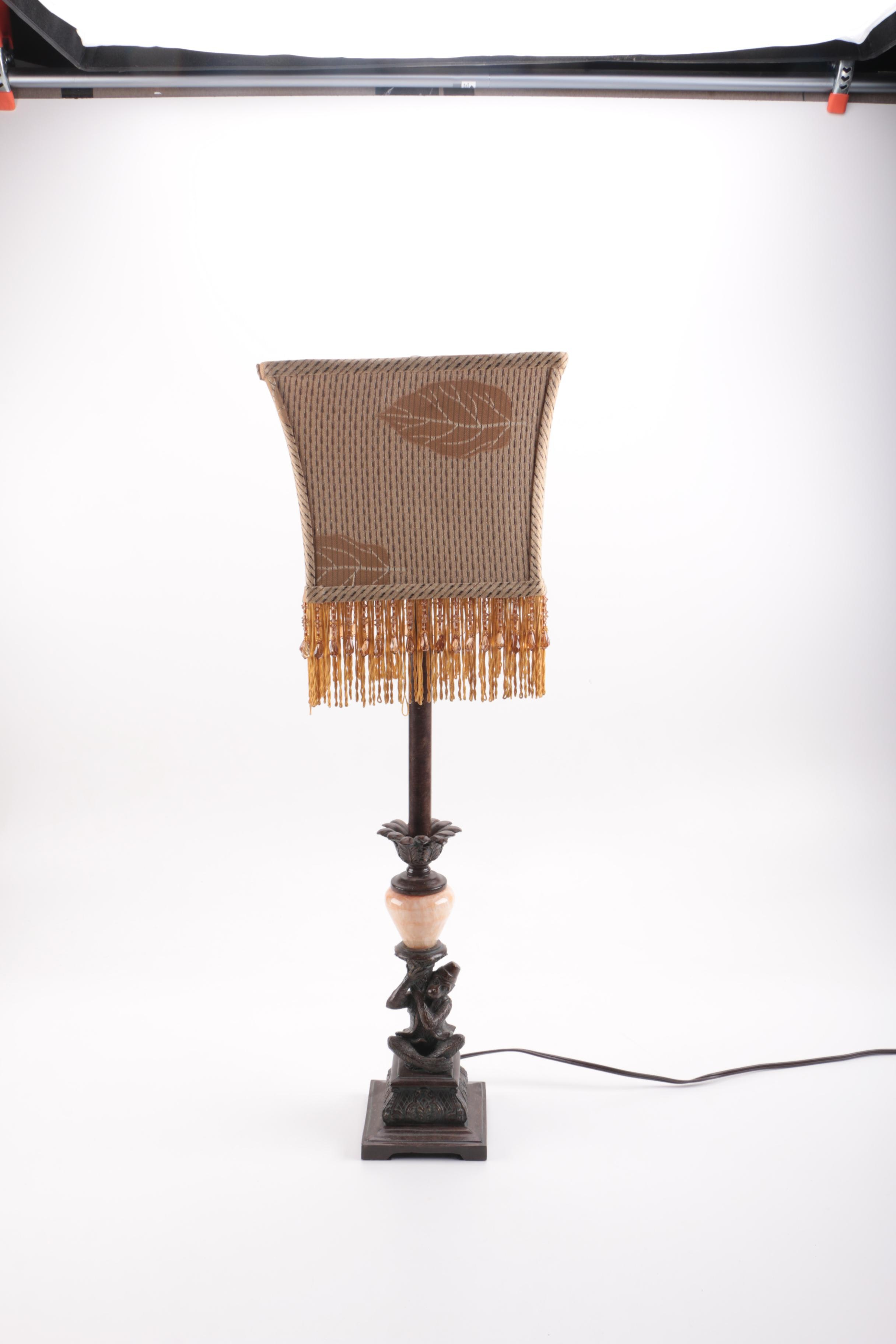 Monkey Lamp With Fringed Lampshade