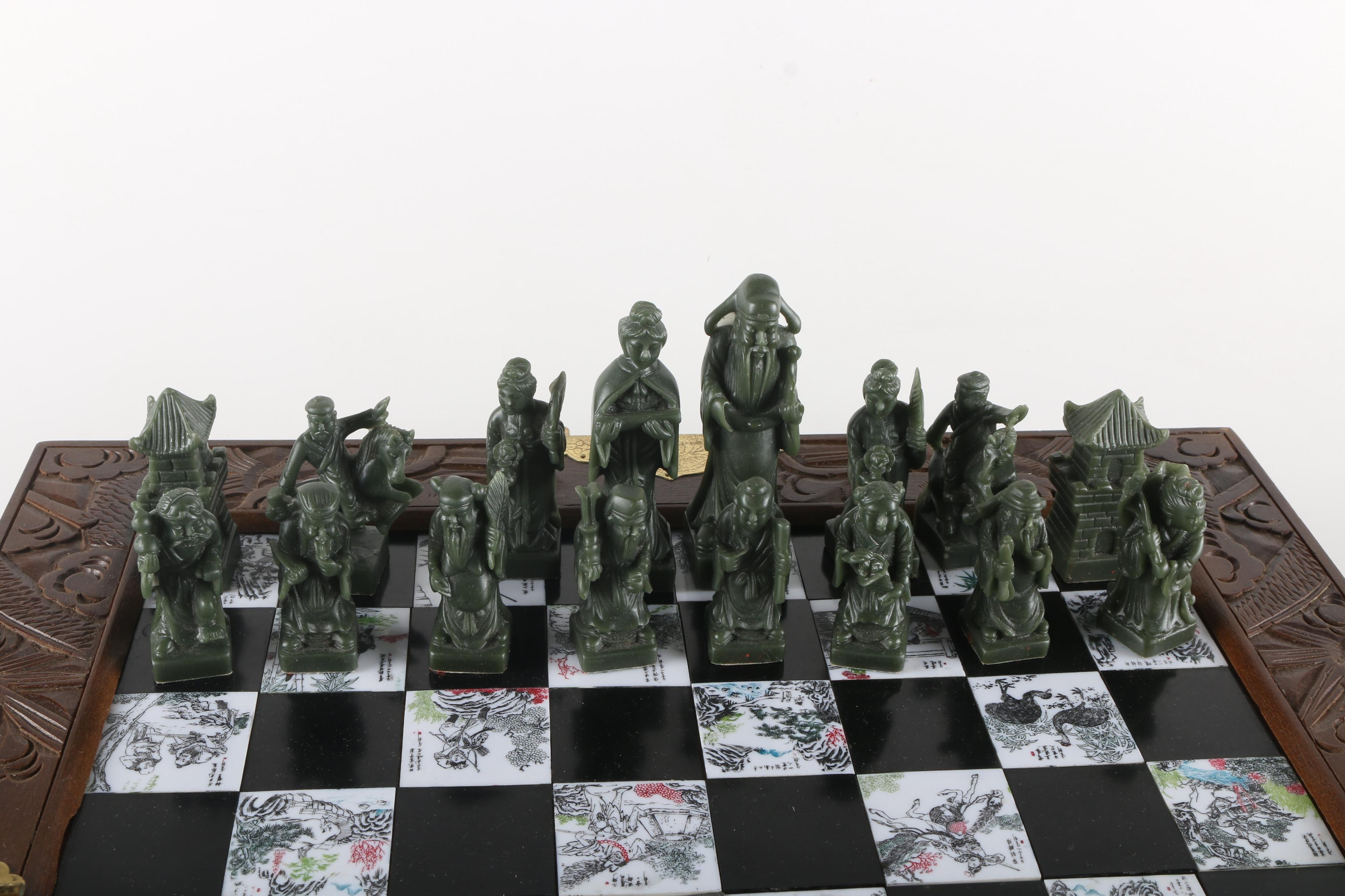Vintage Chinese Chess Set Ebth