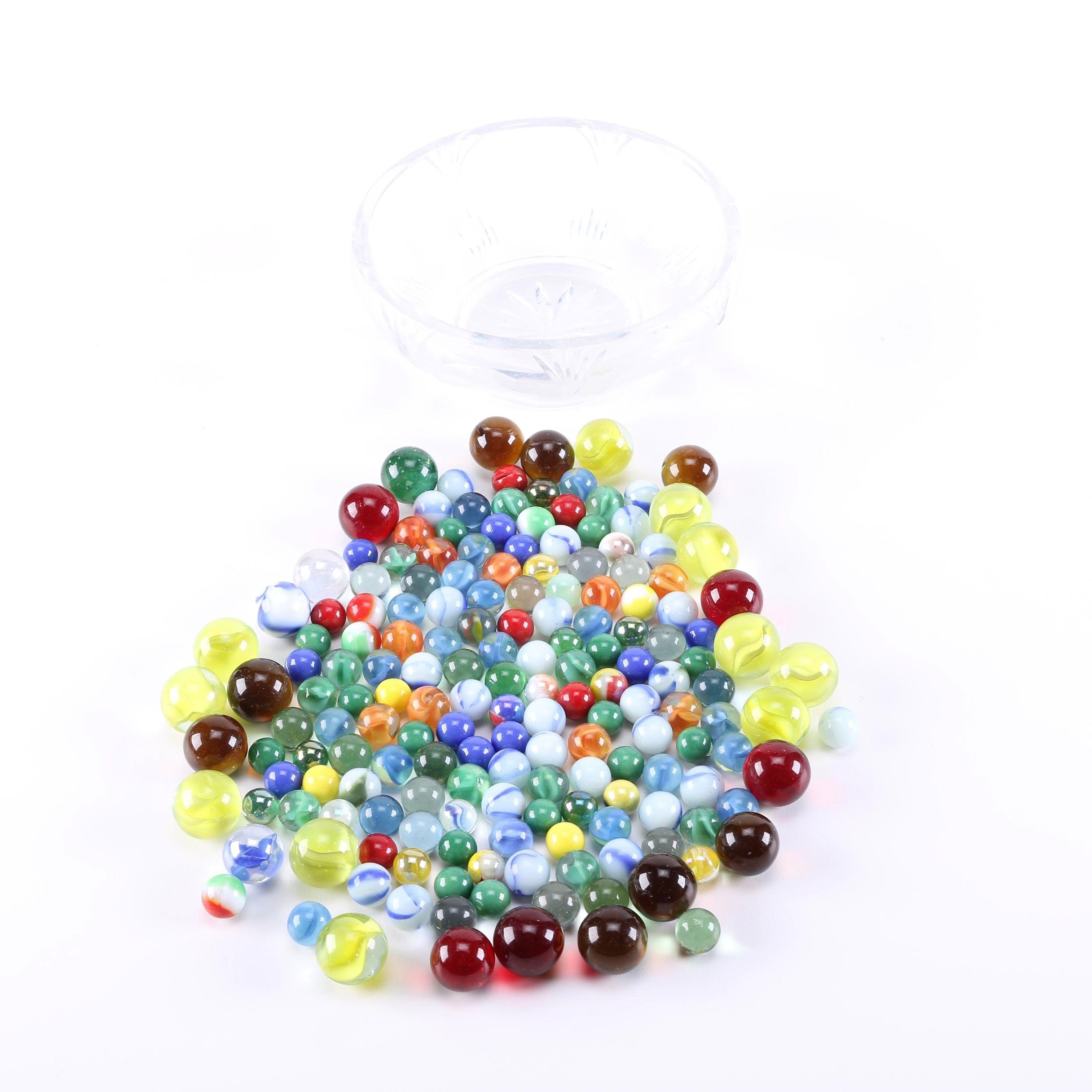 Collection of Marbles in a Glass Dish