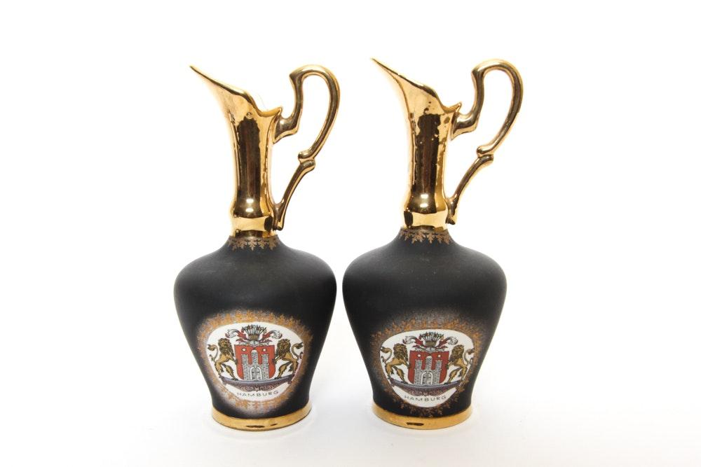 Pair of German Ceramic Ewers