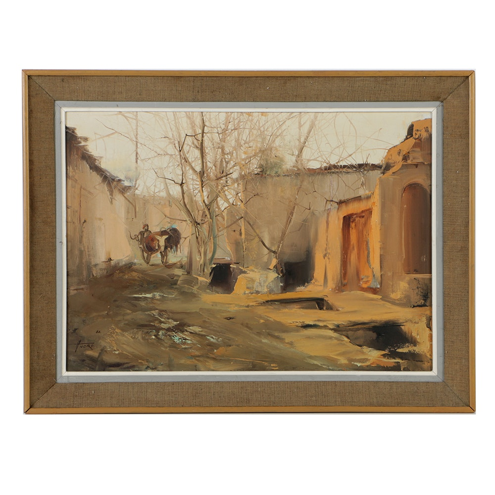 Manel Anoro Oil Painting on Canvas of Spanish Village Landscape