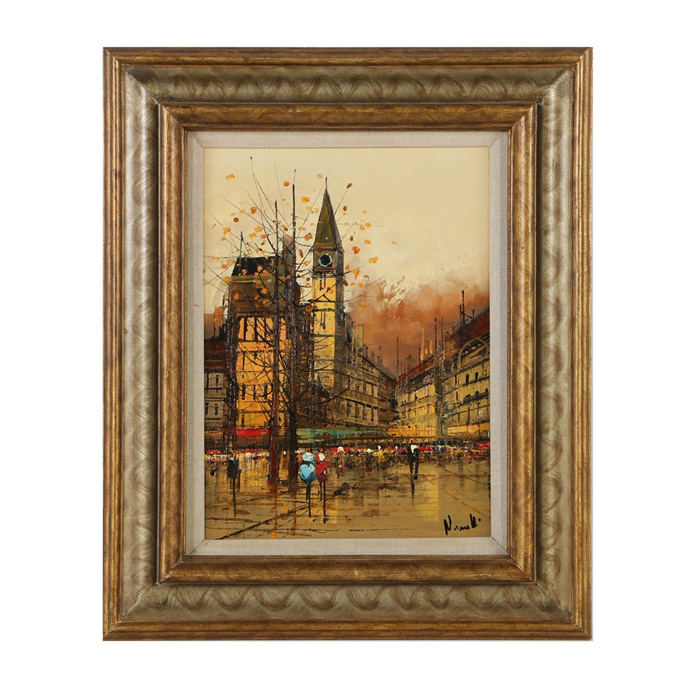 Late 20th-Century Oil Painting on Canvas Continental Street Scene