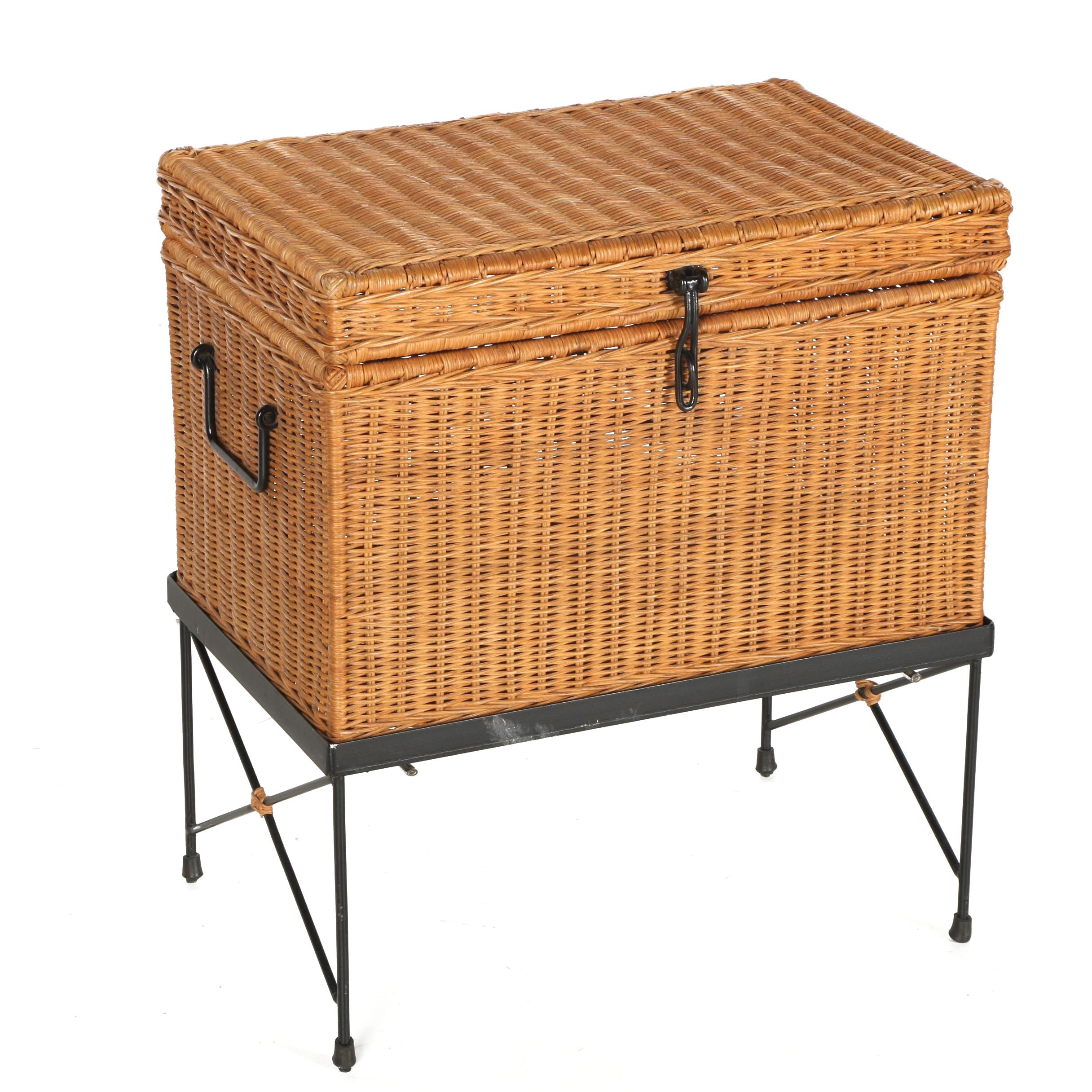 Wicker Storage Box on Stand