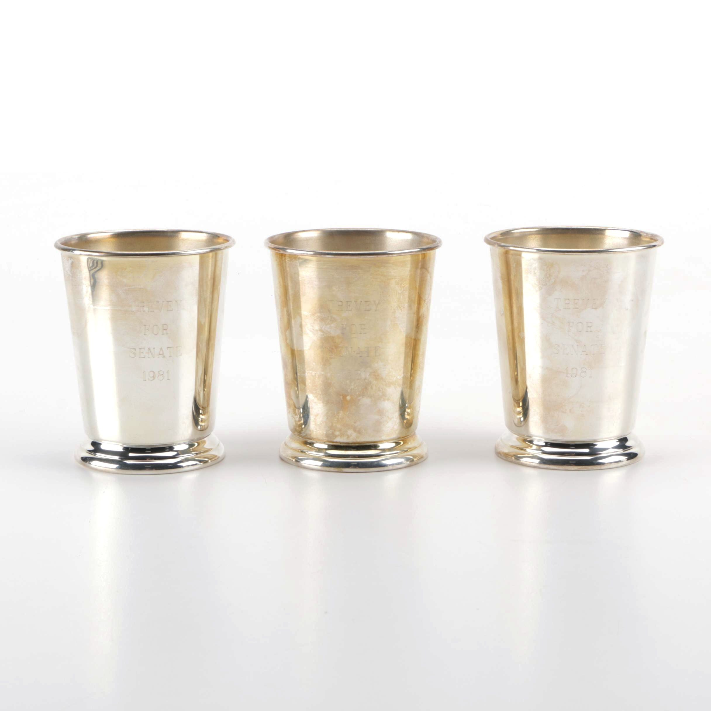 Set of Three Engraved Silver Plate Julep Cups