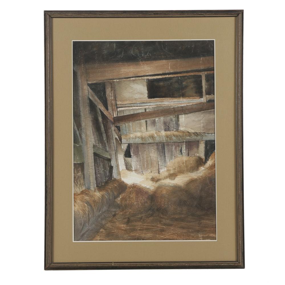 "Karol B. Wyckoff Watercolor Painting on Hand-Made Paper ""Inside Keeler's Barn"""