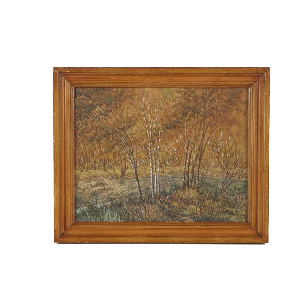 Louis C. Pedlar Watercolor & Gouache on Board Autumnal Landscape