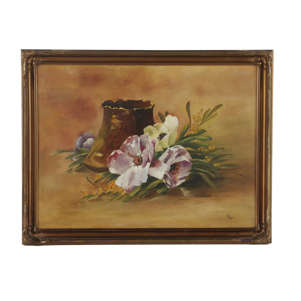 F. Parr Oil Painting on Board Floral Still Life