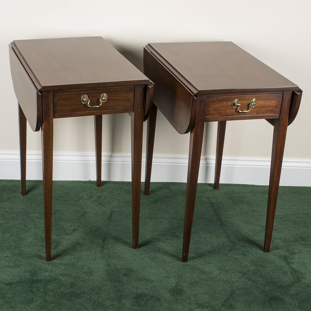 Hepplewhite Style Mahogany Drop Side Tables by Henkel-Harris