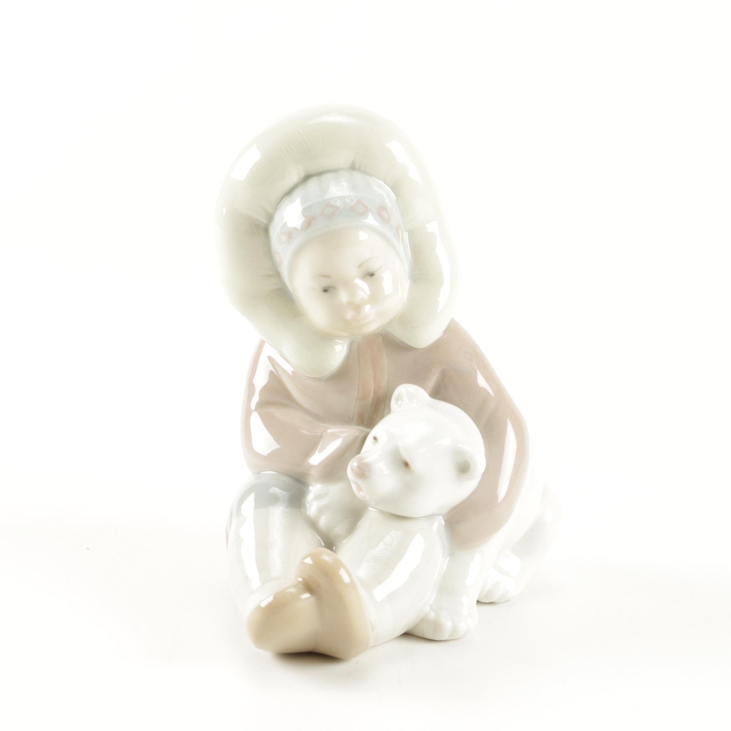 "Lladró Figurine of ""Eskimo Girl with Polar Bear"""