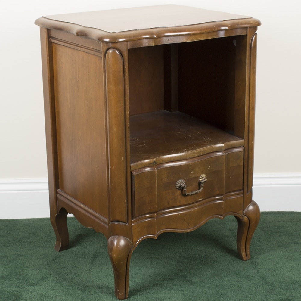 Mahogany Stained Accent Table With Drawer