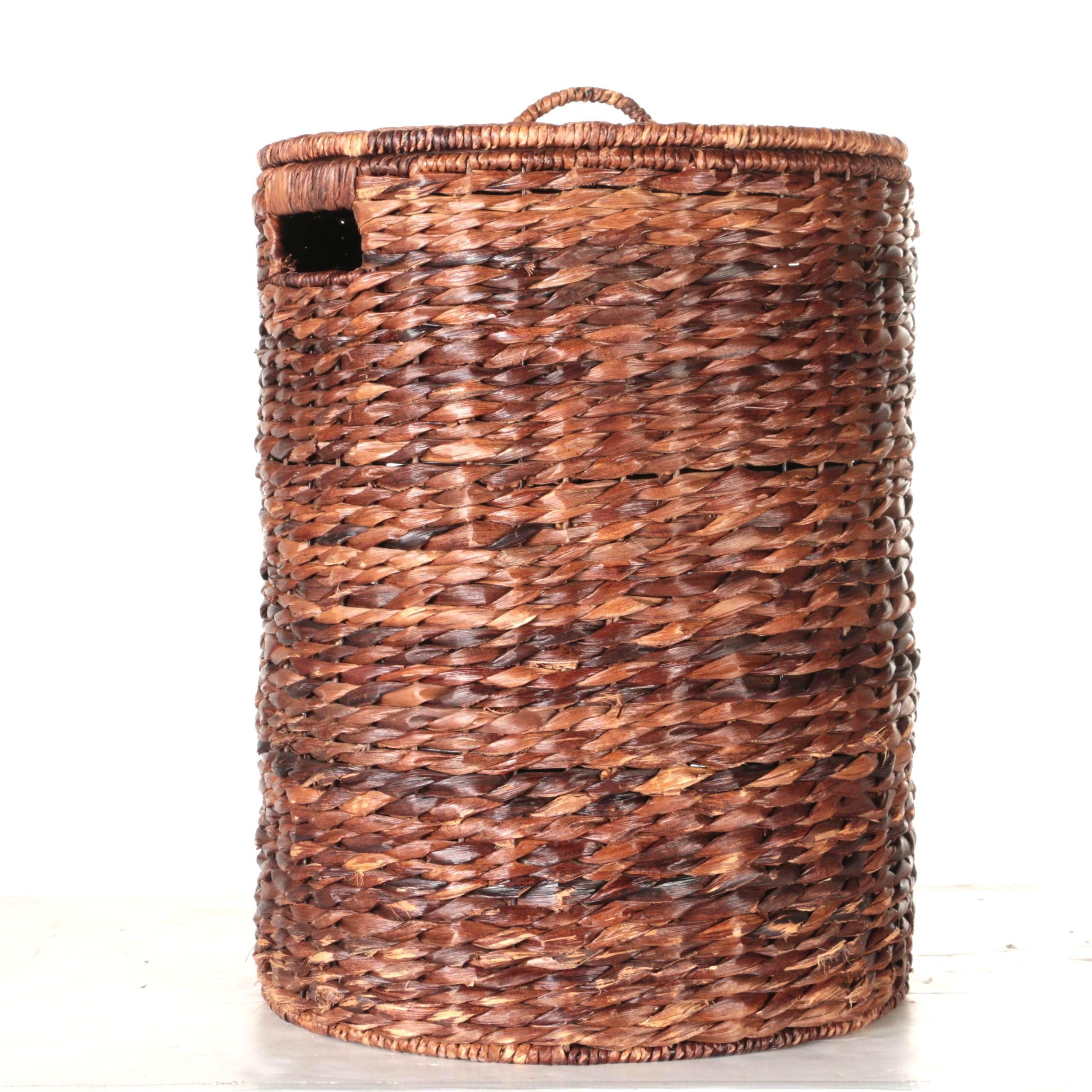 Brown Wicker Laundry Basket