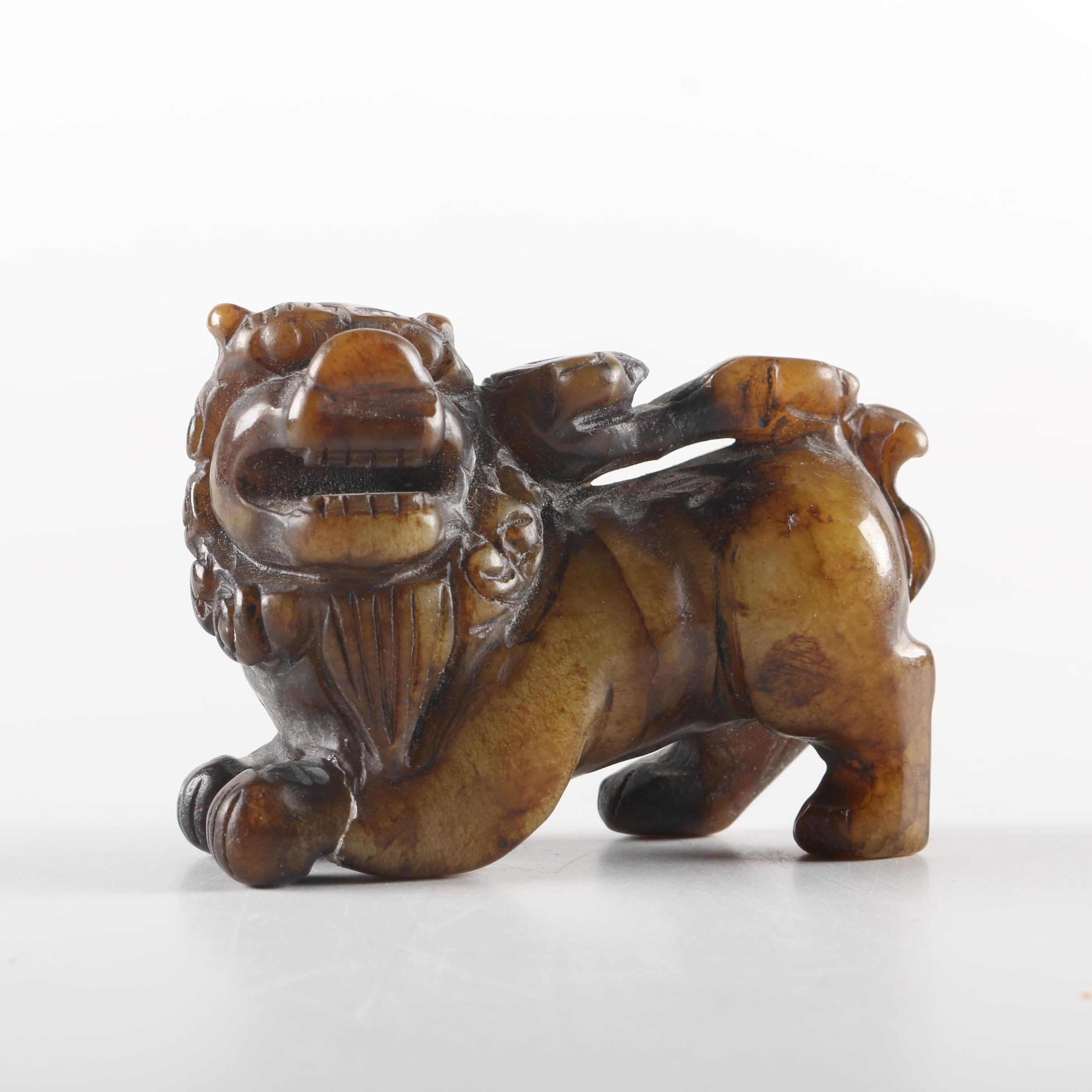 Chinese Carved Soapstone Guardian Lion