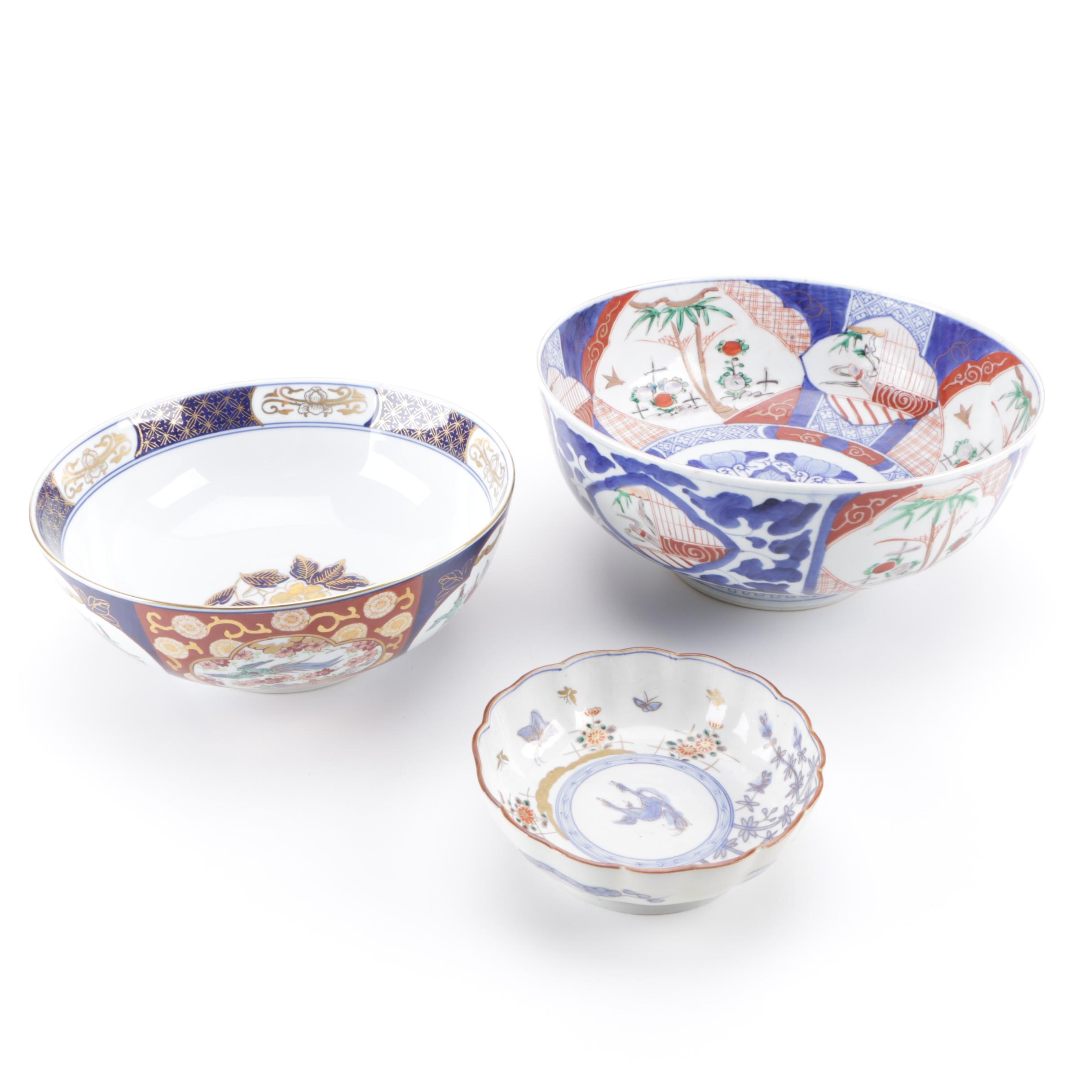Collection of Three Hand-Painted Asian Serving Bowls