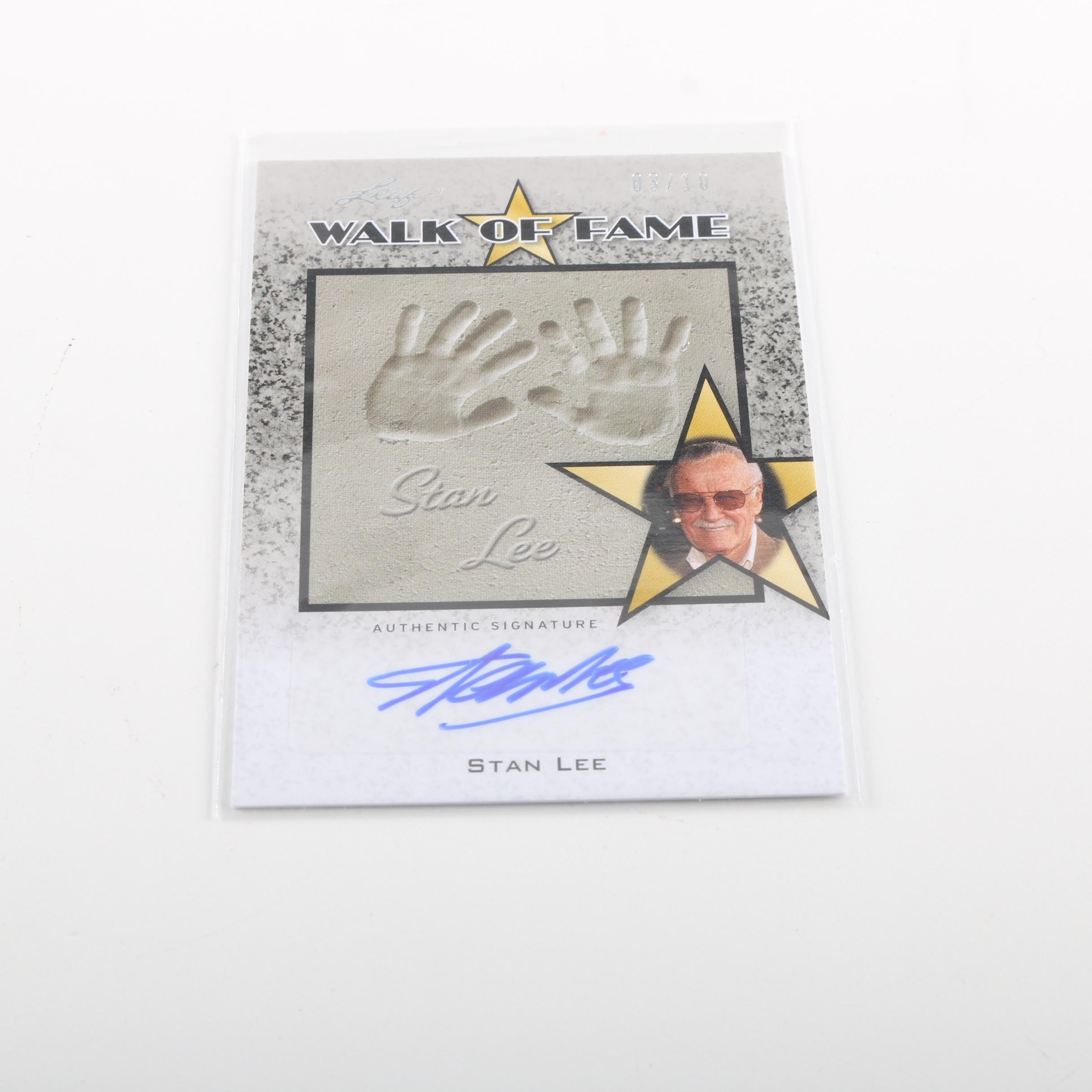 """Signed Stan Lee """"Walk Of Fame"""" Leaf Trading Card"""