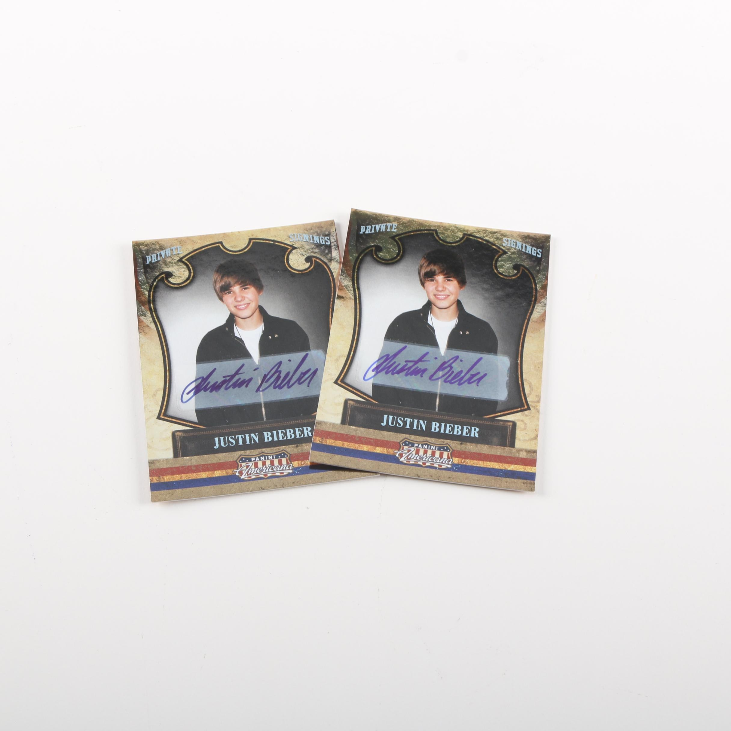 Pair of 2011 Autographed Justin Bieber Collector's Cards