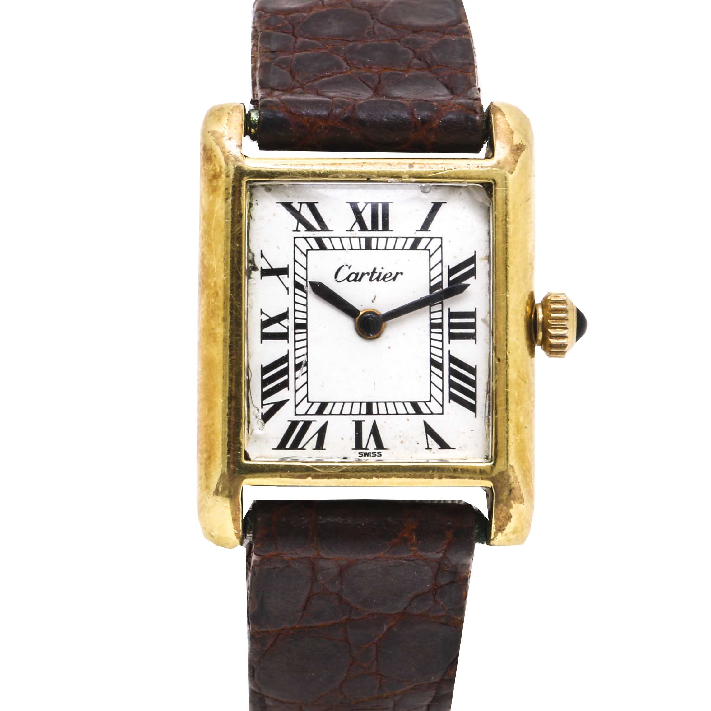 Vintage Cartier 18K Gold Electroplated Manual Wind Tank Wristwatch