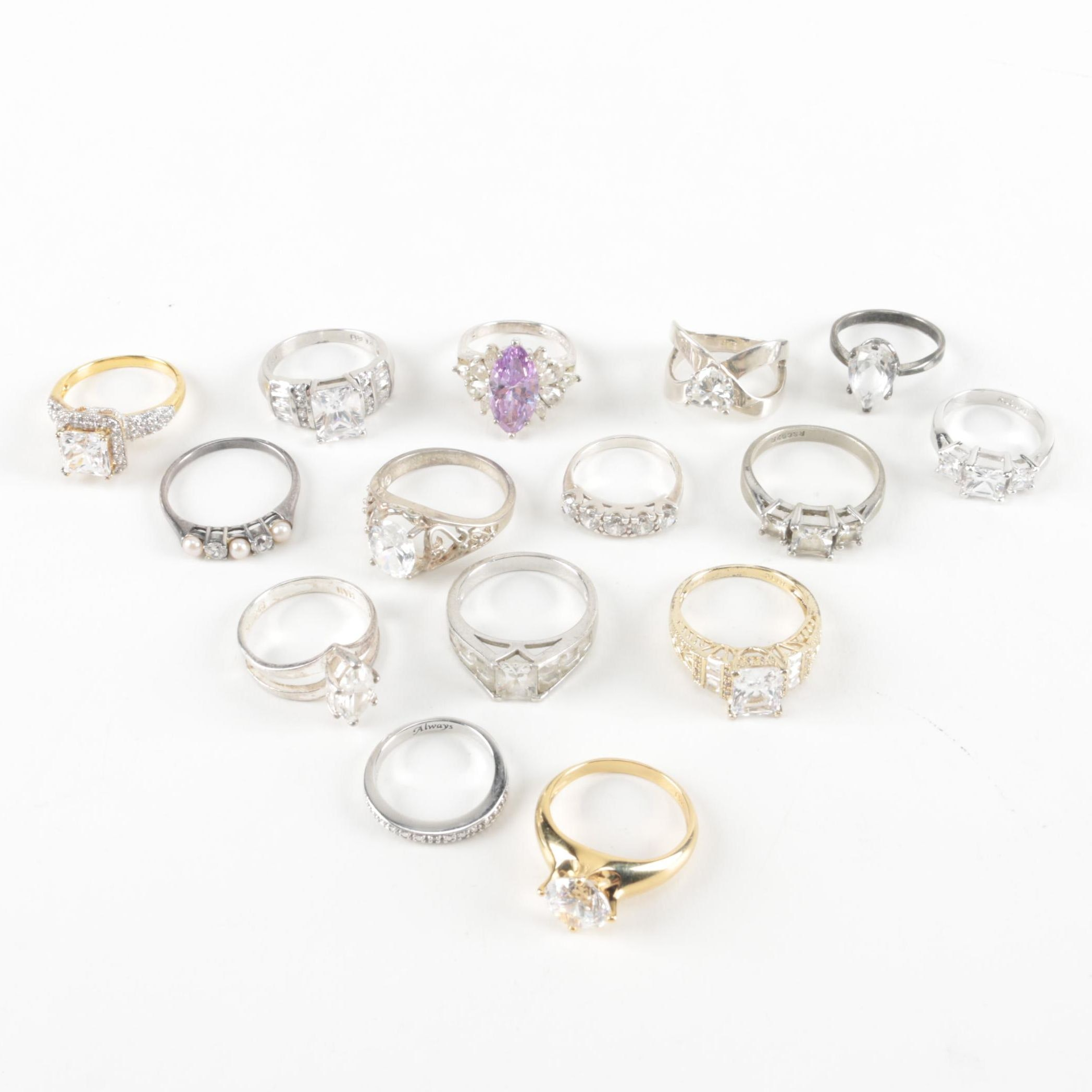 Sterling Rings Including Cubic Zirconia