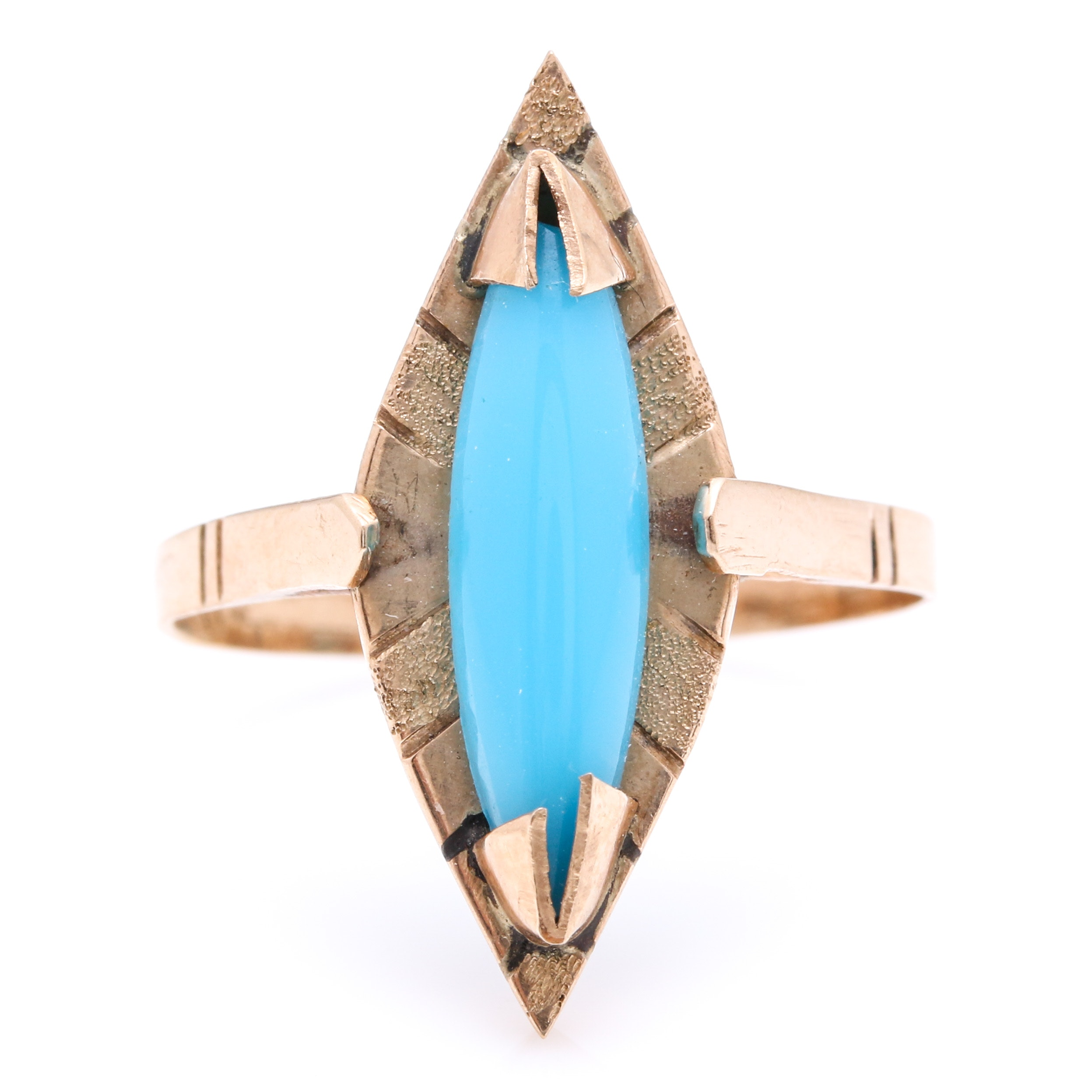 14K Yellow Gold Chrysocolla-in-Chalcedony Ring
