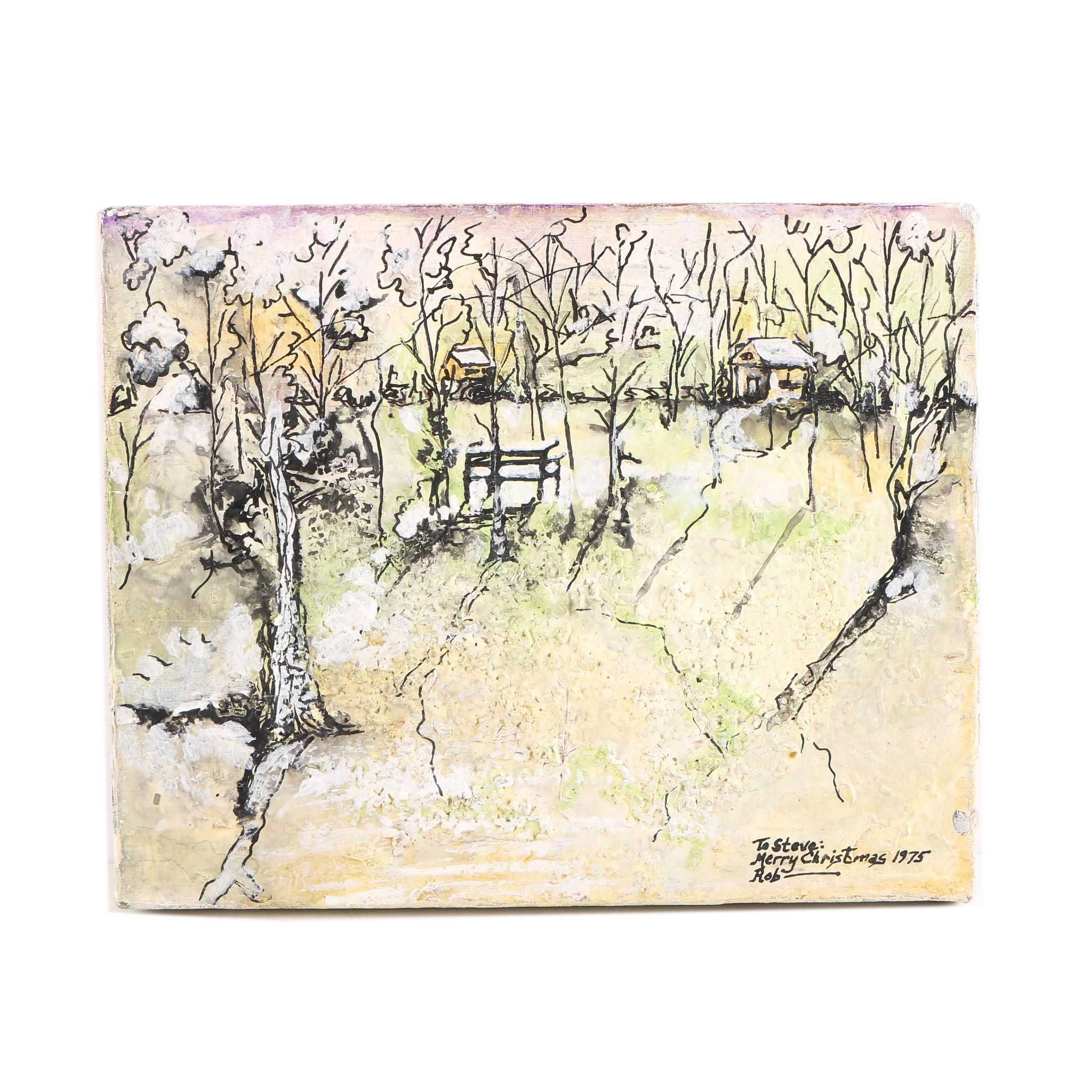 1975 Rob Gouache Painting on Canvas of a Winter Landscape