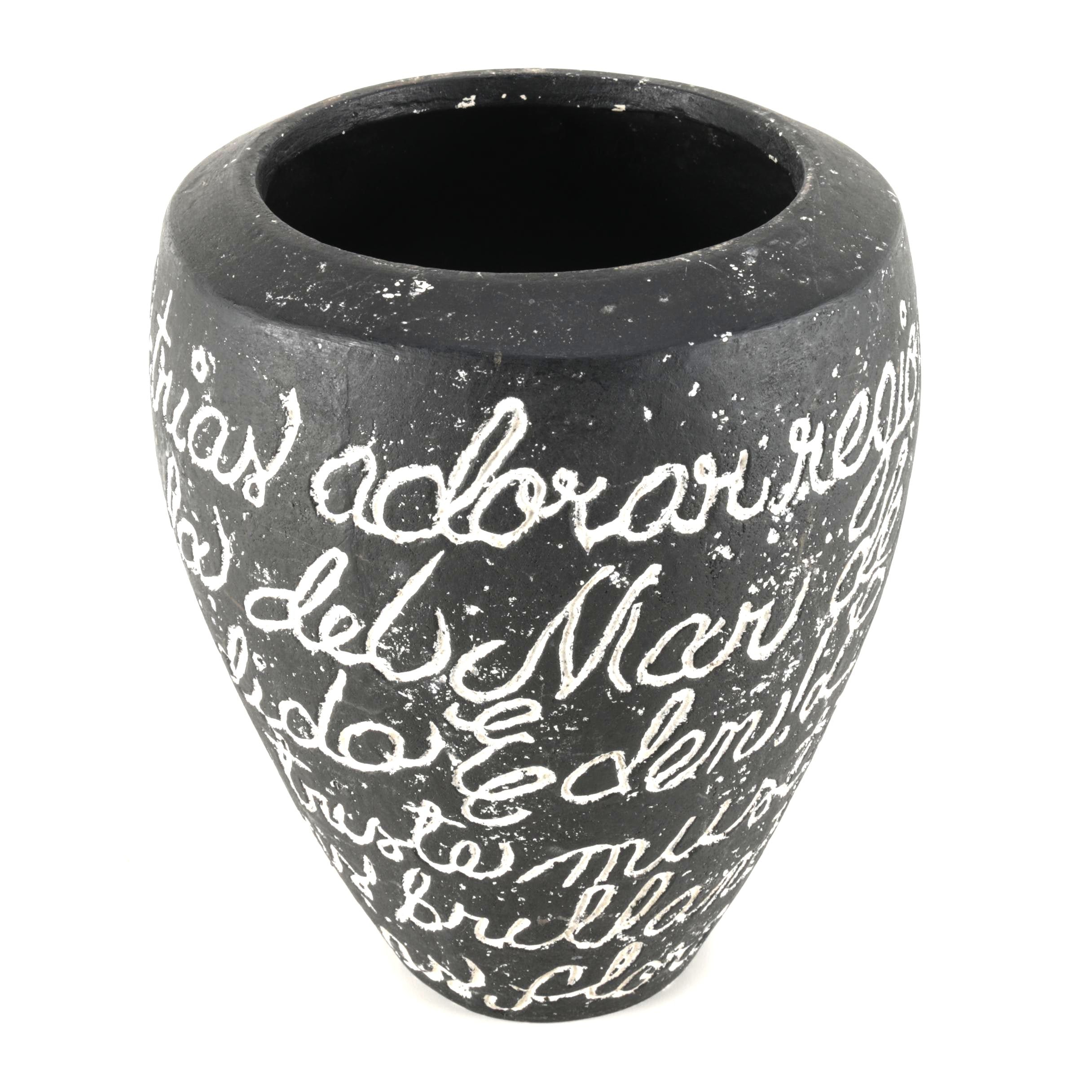 Large Black Vase With Spanish Calligraphy