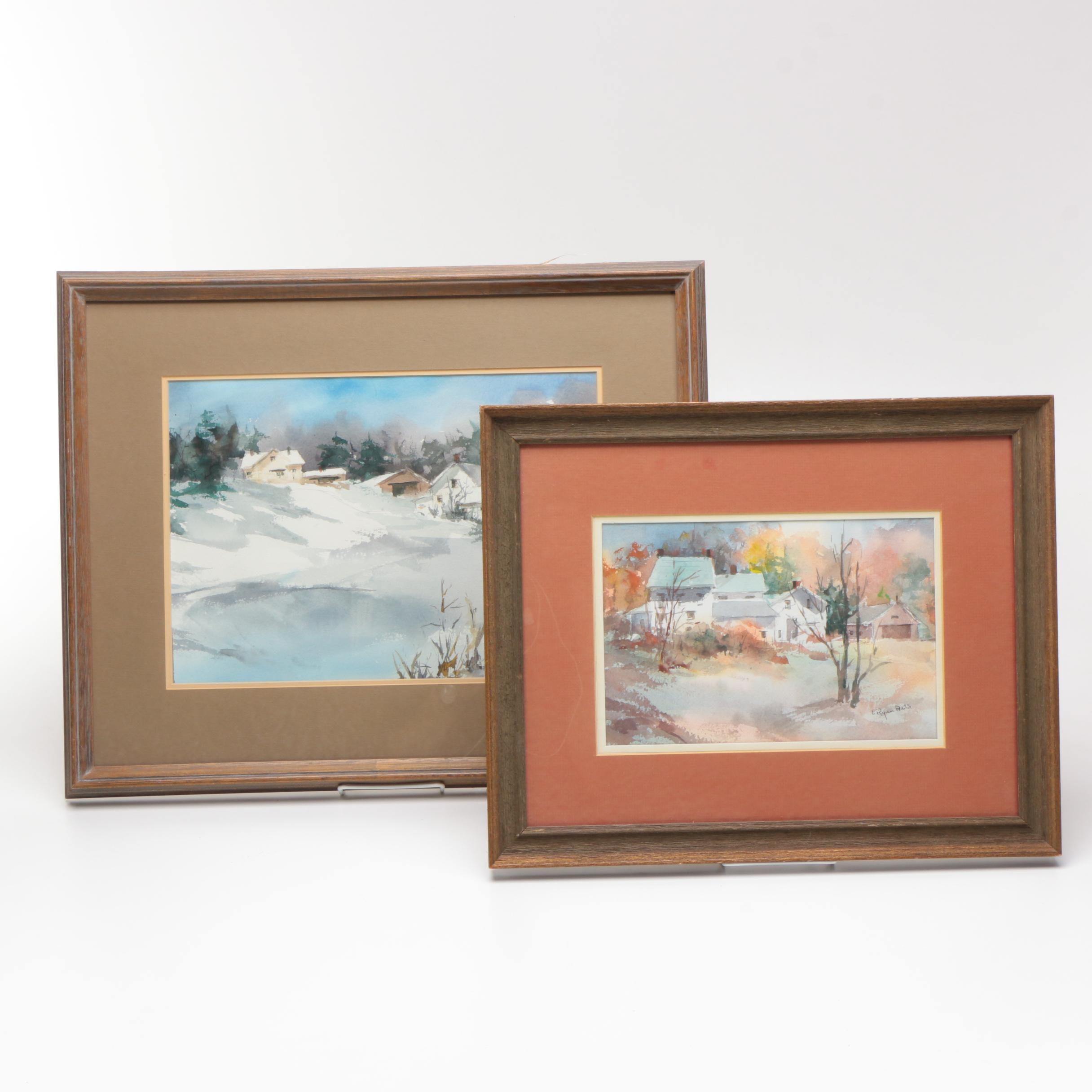 E. Ryan Watercolors of Winter Landscapes